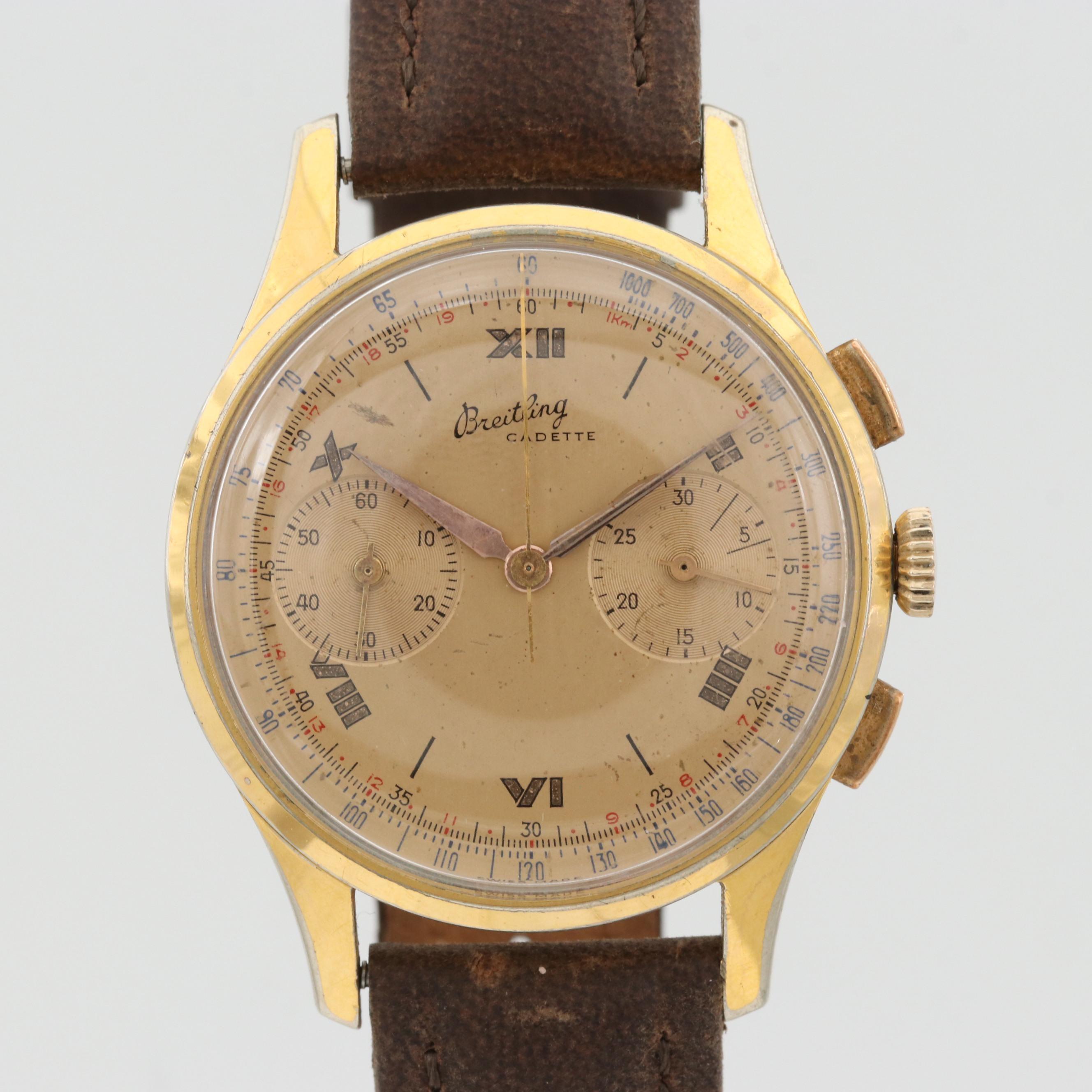 Vintage Breitling Cadette Gold Tone Stem Wind Chronograph Wristwatch, Circa 1950