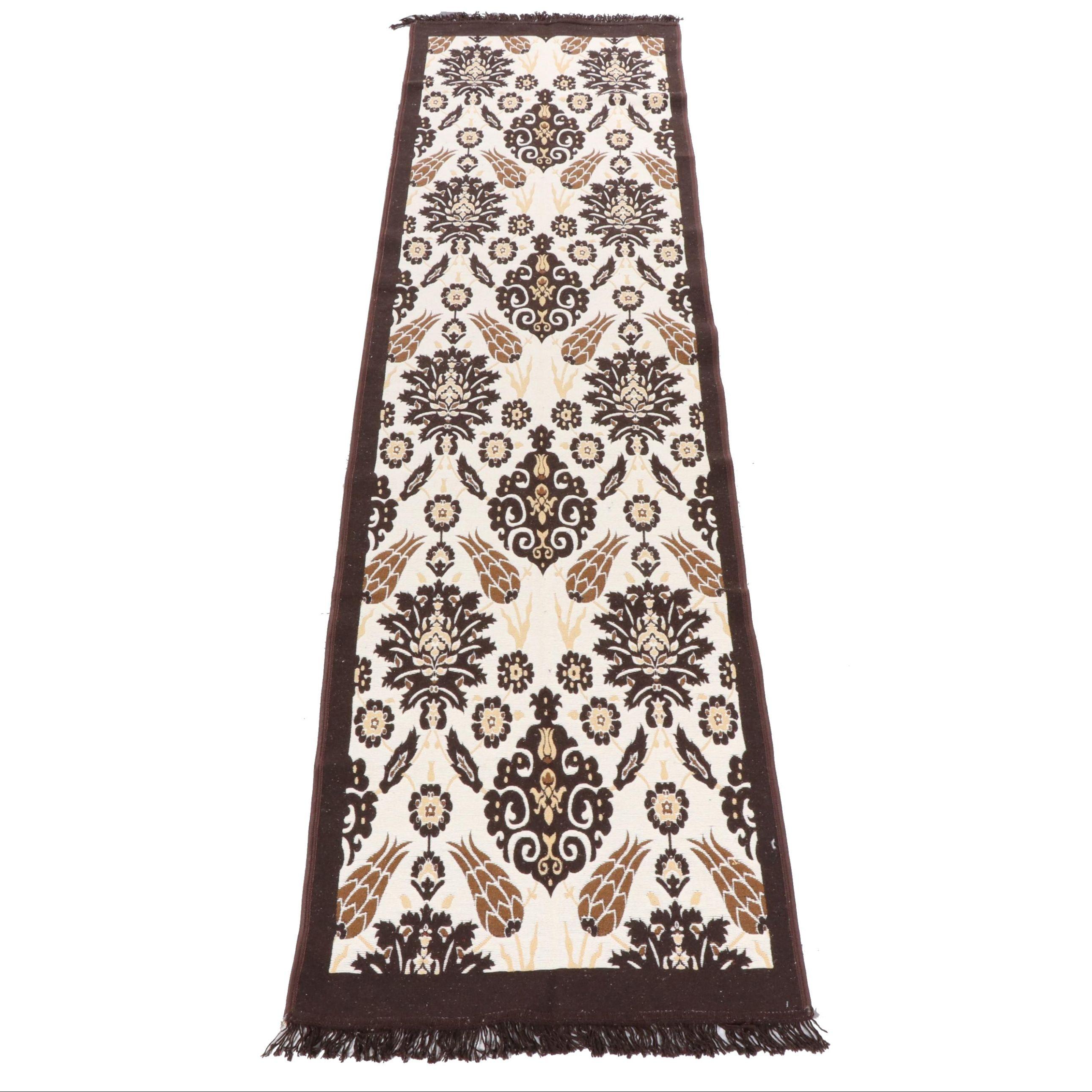Machine Made Turkish Wool and Cotton Blend Kilim Carpet Runner