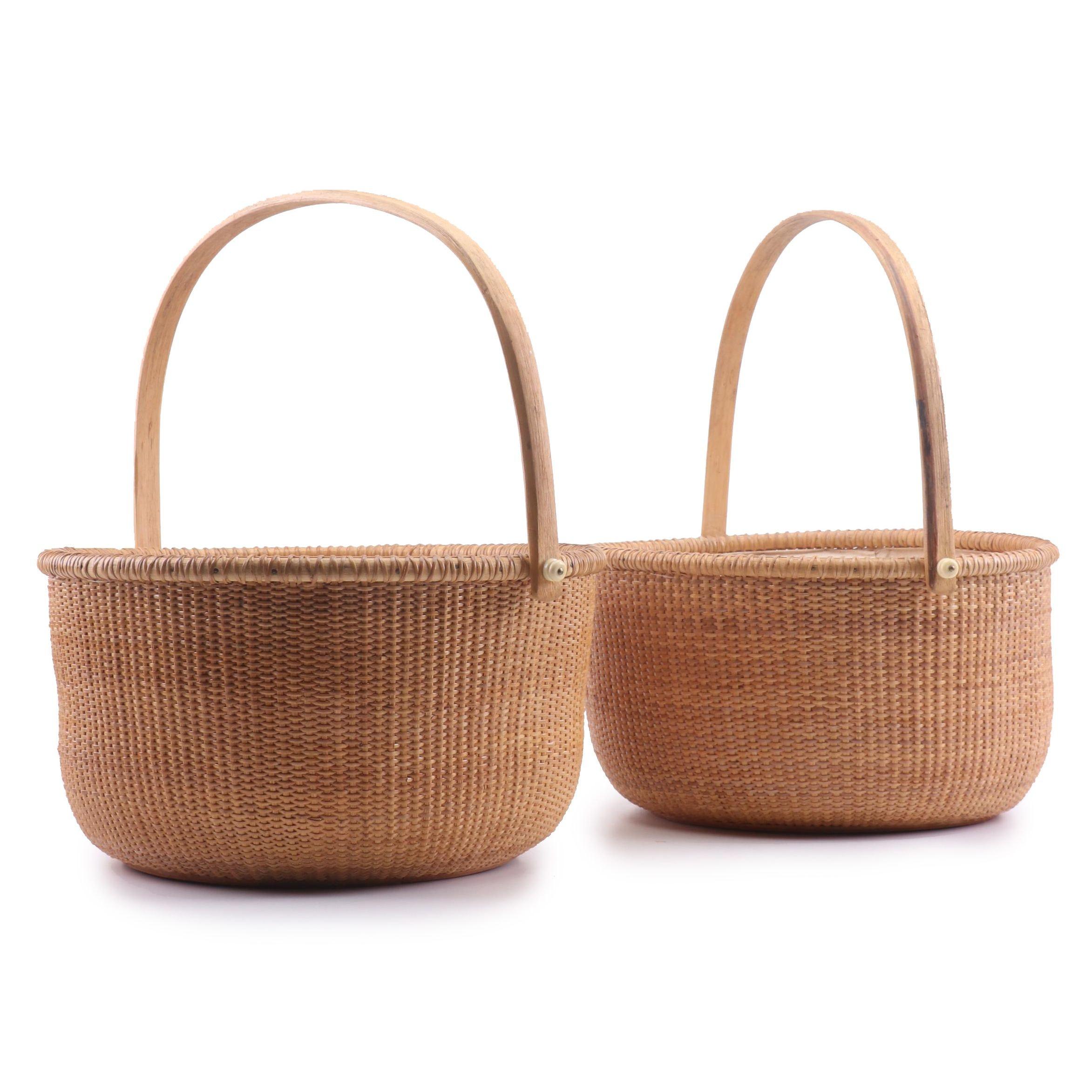 Woven Rattan Nantucket Baskets with Linen Liners