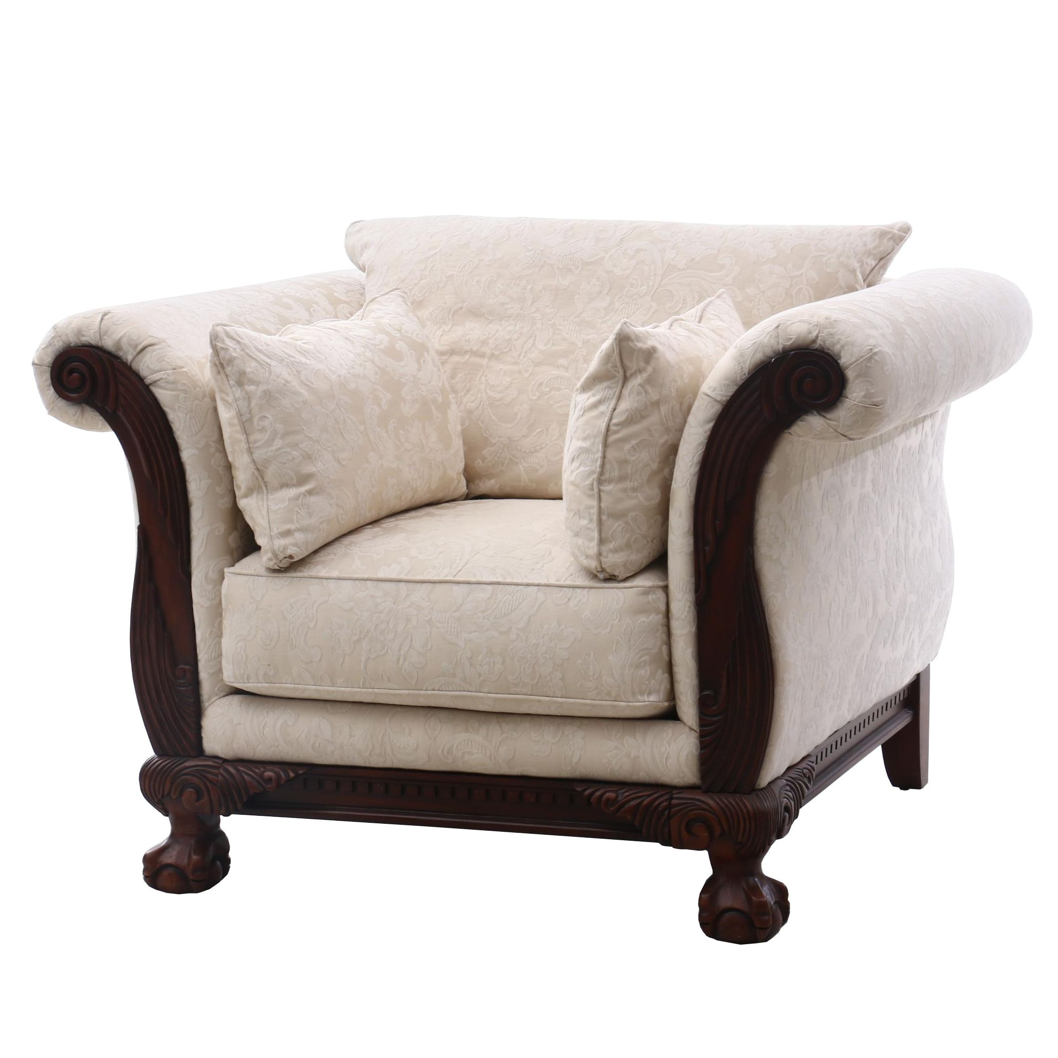 Sofa Express Loveseat in Ivory Damask, Contemporary