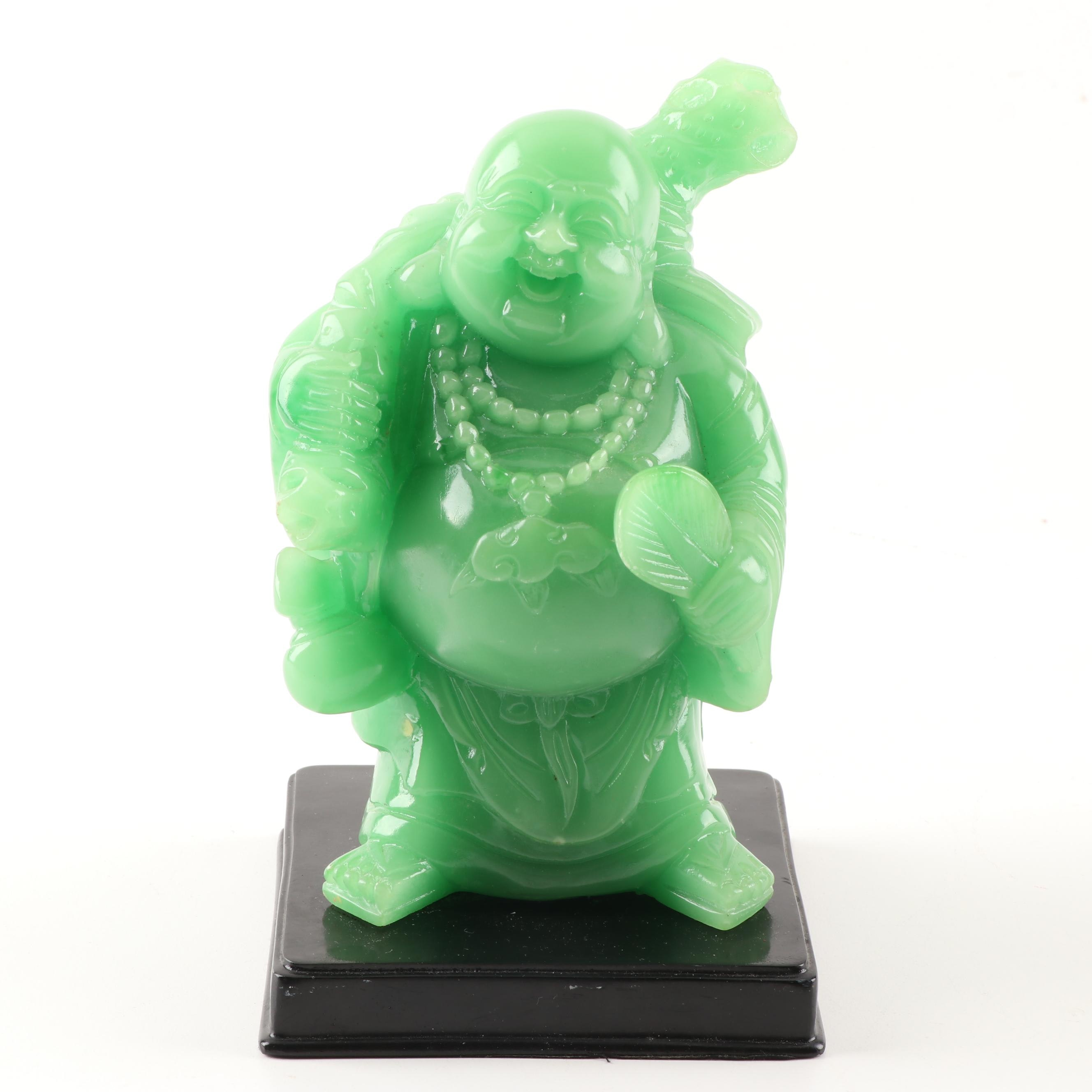 Green Acrylic Buddha Figurine, 20th Century