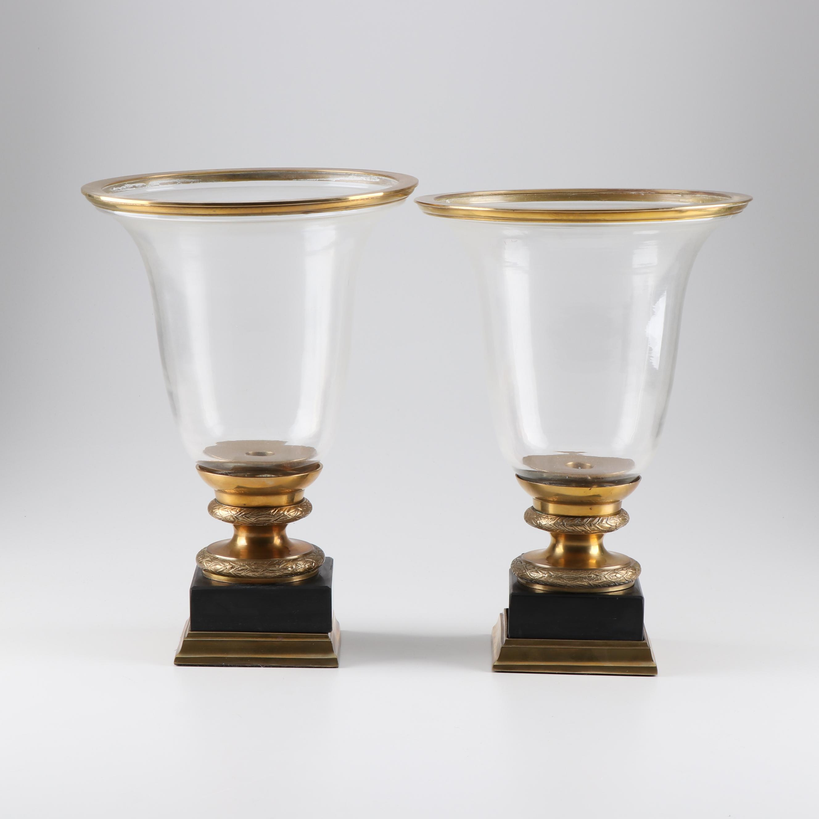 Andrea by Sadek Glass and Brass Hurricanes with Marble Base