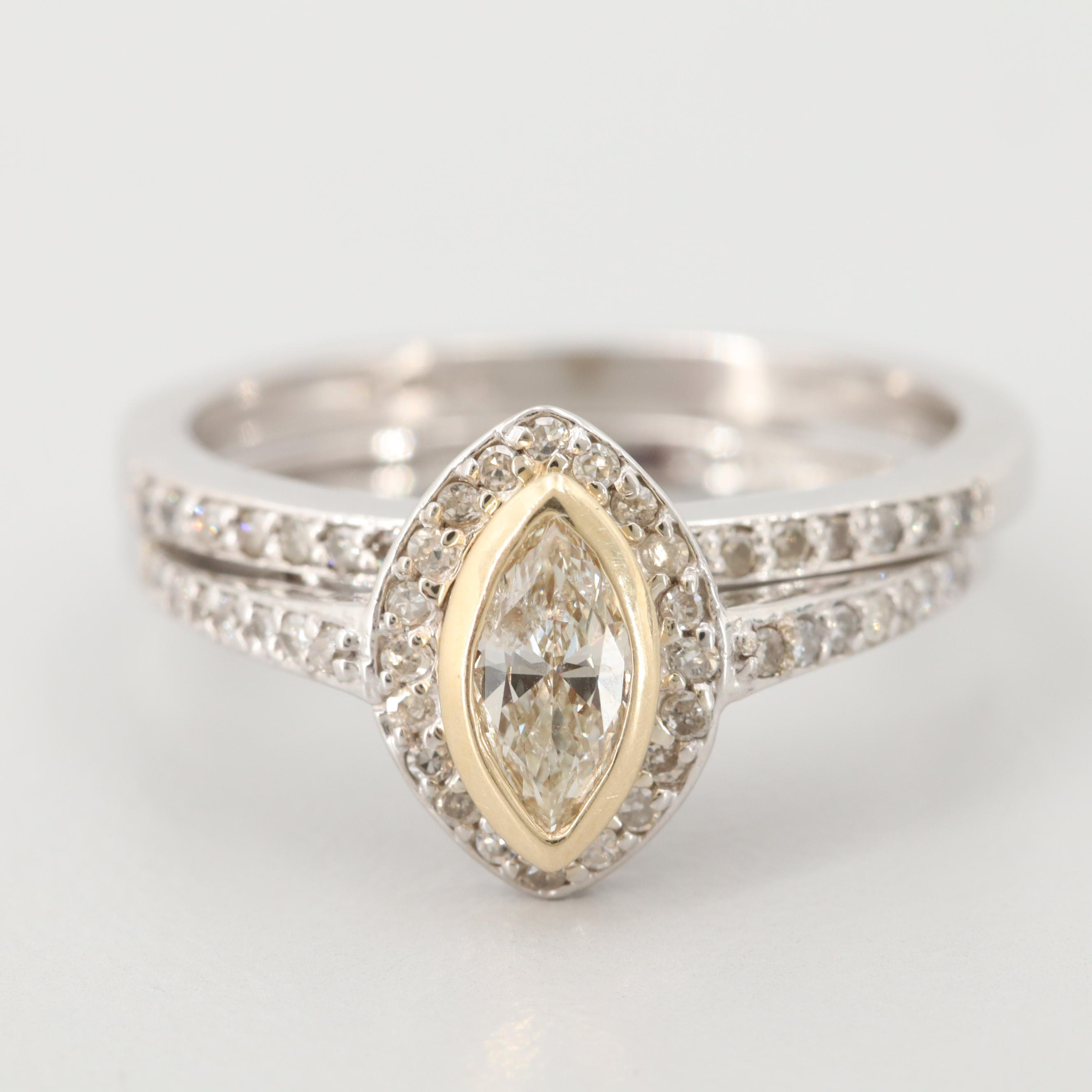 14K White Gold Diamond Ring Set with Yellow Gold Accents