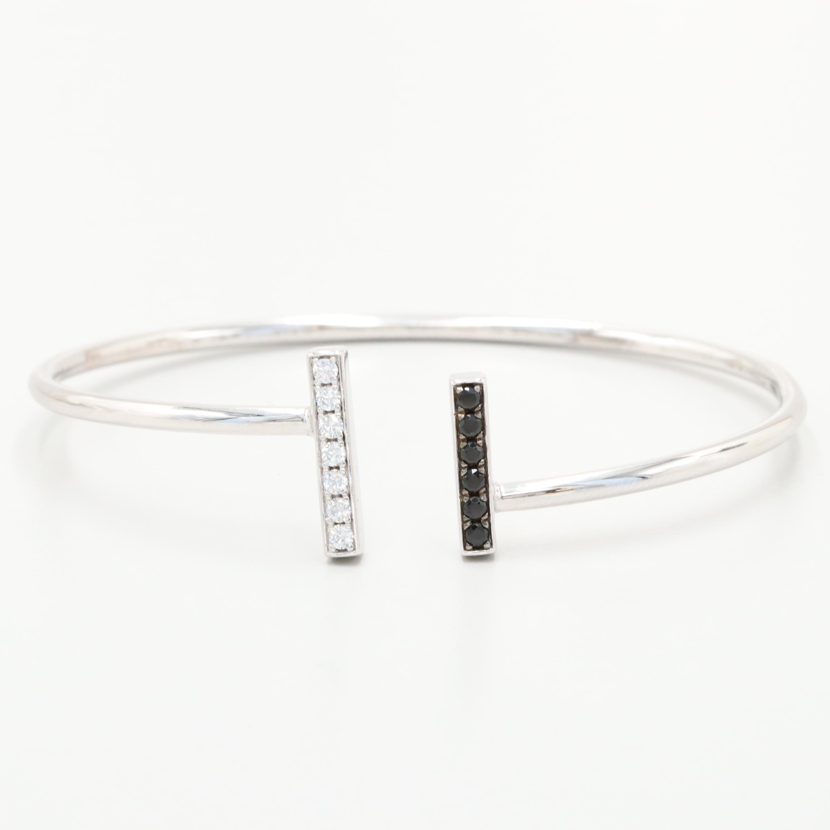 Elle Sterling Silver Cubic Zirconia Cuff Bracelet