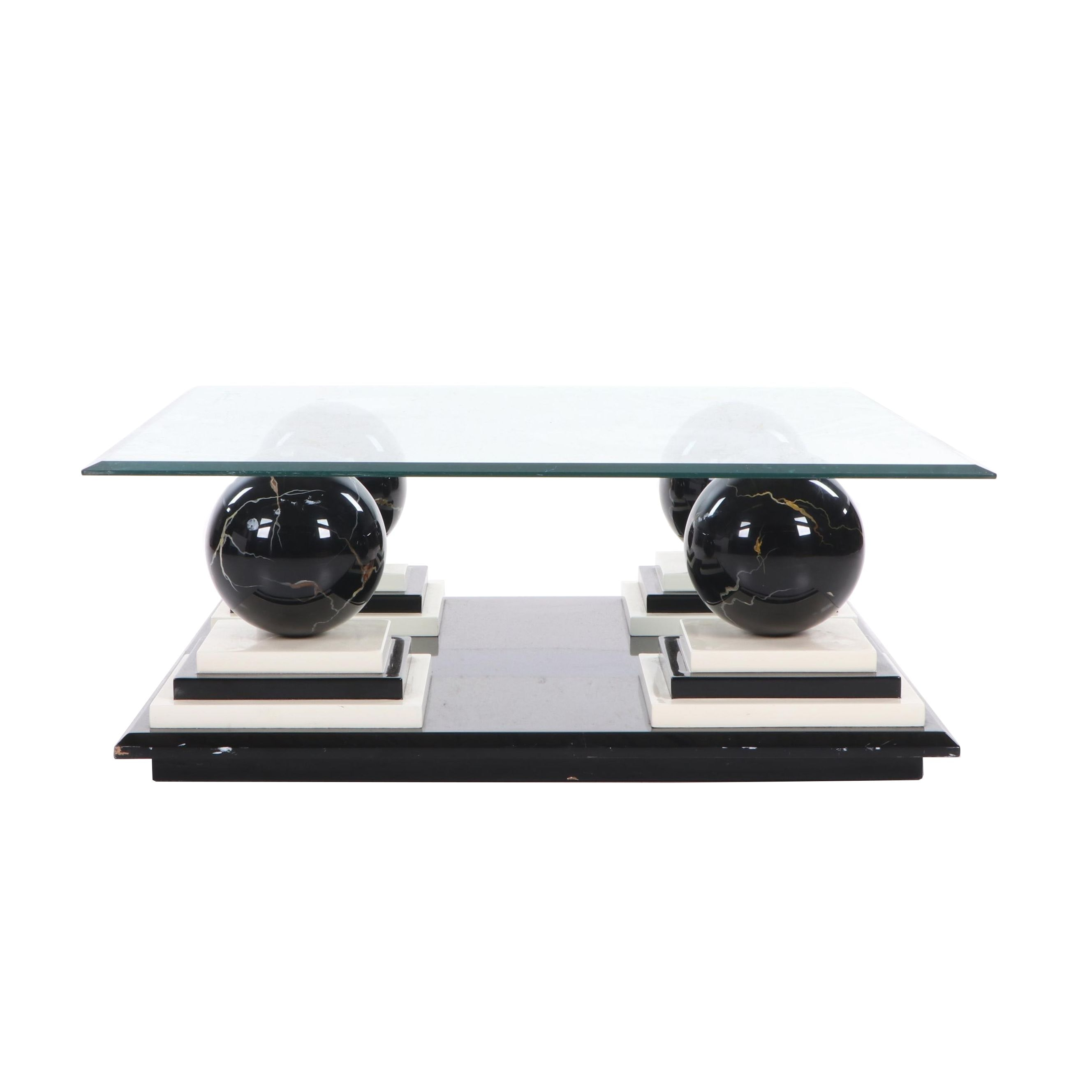 Modern Glass and Lacquered Wood Coffee Table, Contemporary