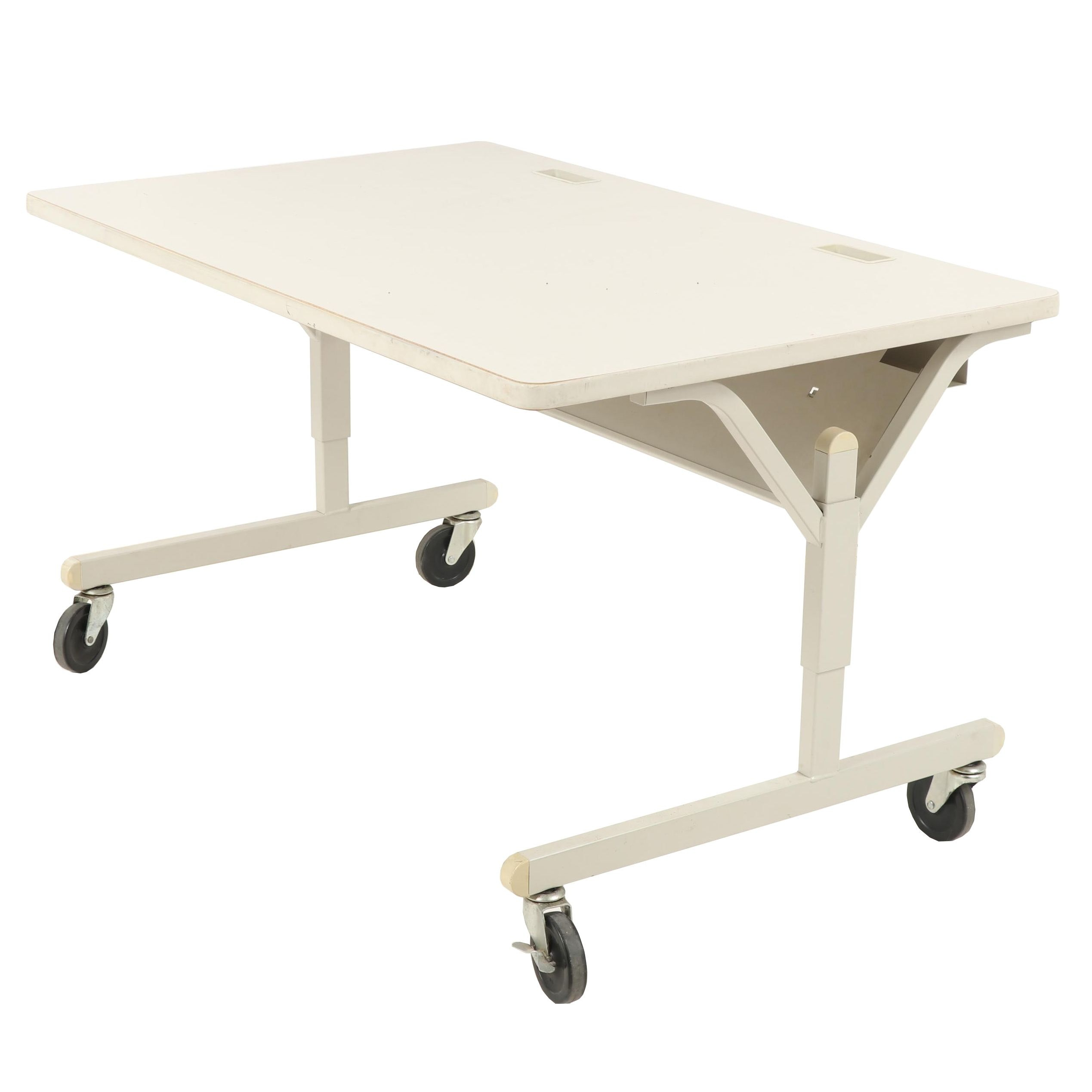 Contemporary Commercial Laminate Desk with on a Steel Base with Casters
