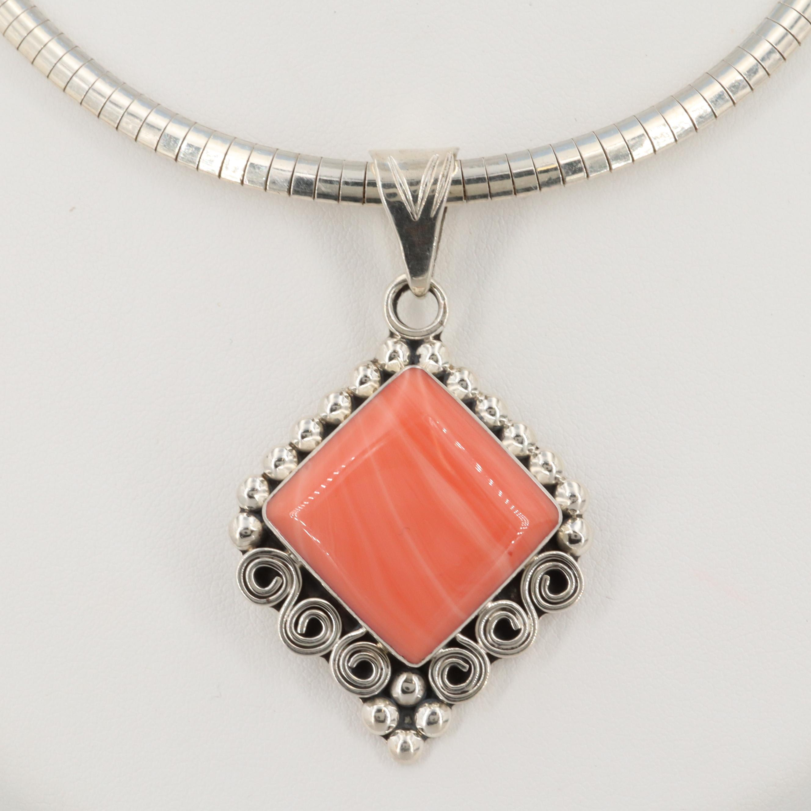Sterling Silver Mexican Glass Pendant on Omega Chain Necklace