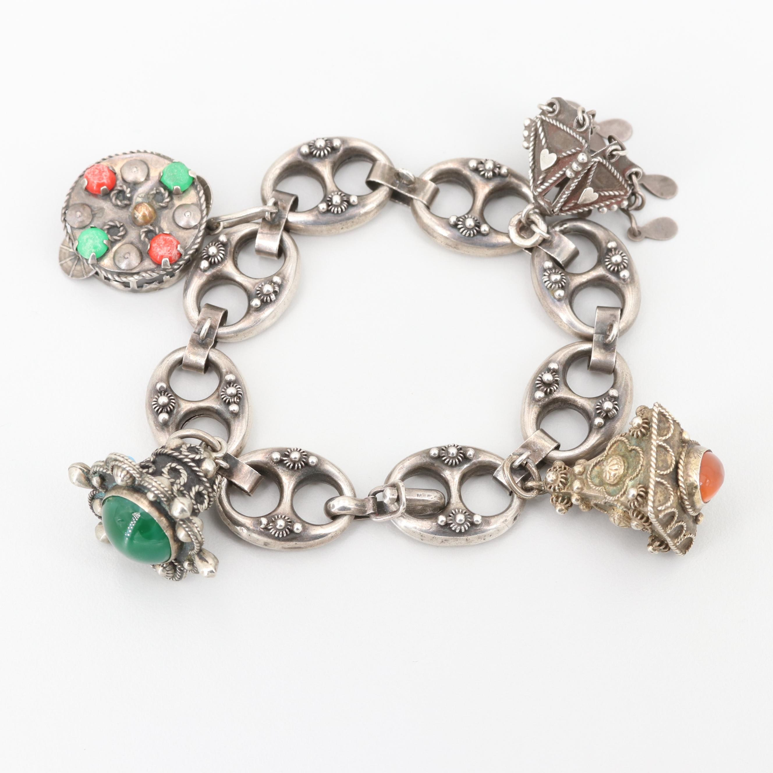 Vintage Sterling, 900 Silver and Imitation Turquoise and Agate Charm Bracelet