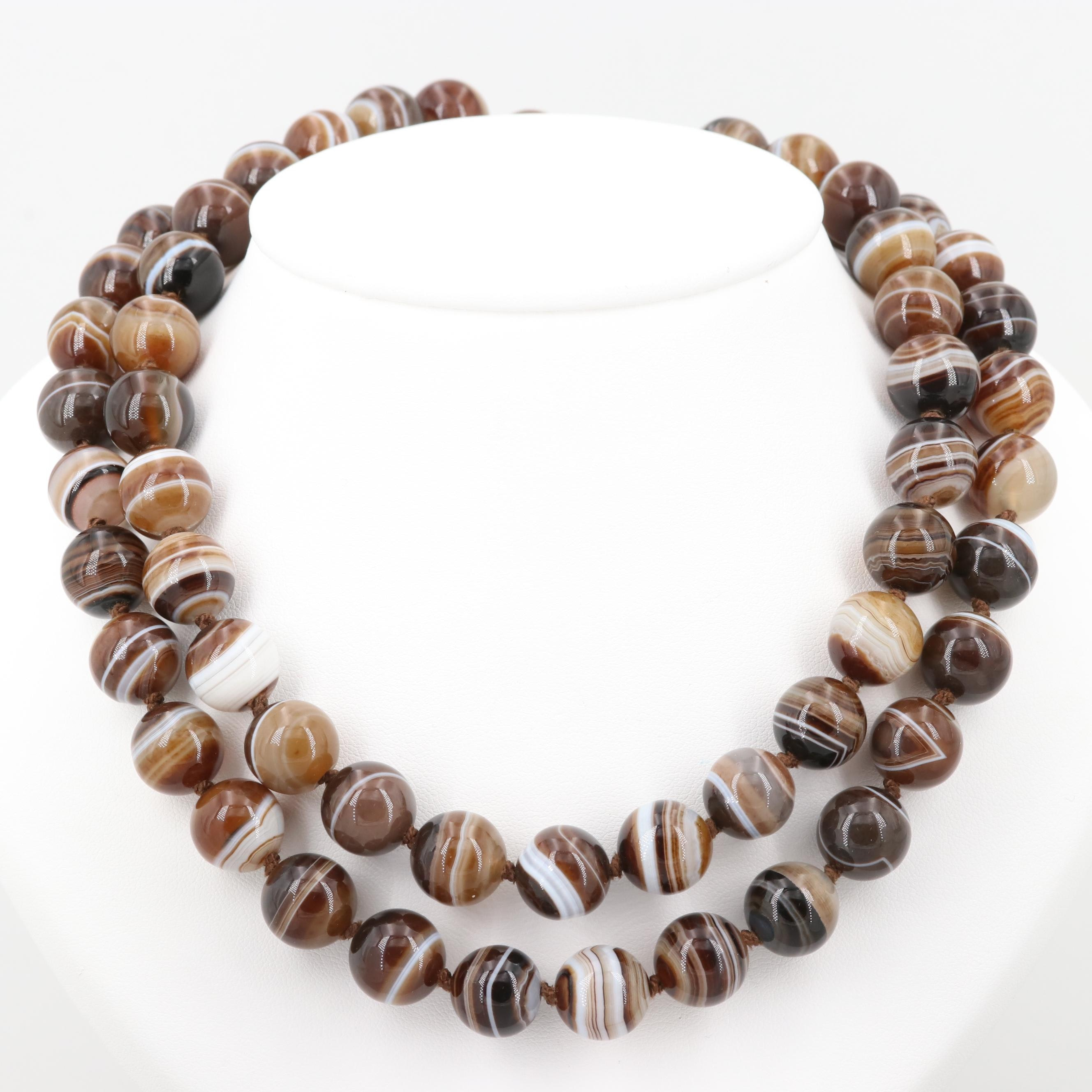 Individually Knotted Agate Beaded Endless Necklace