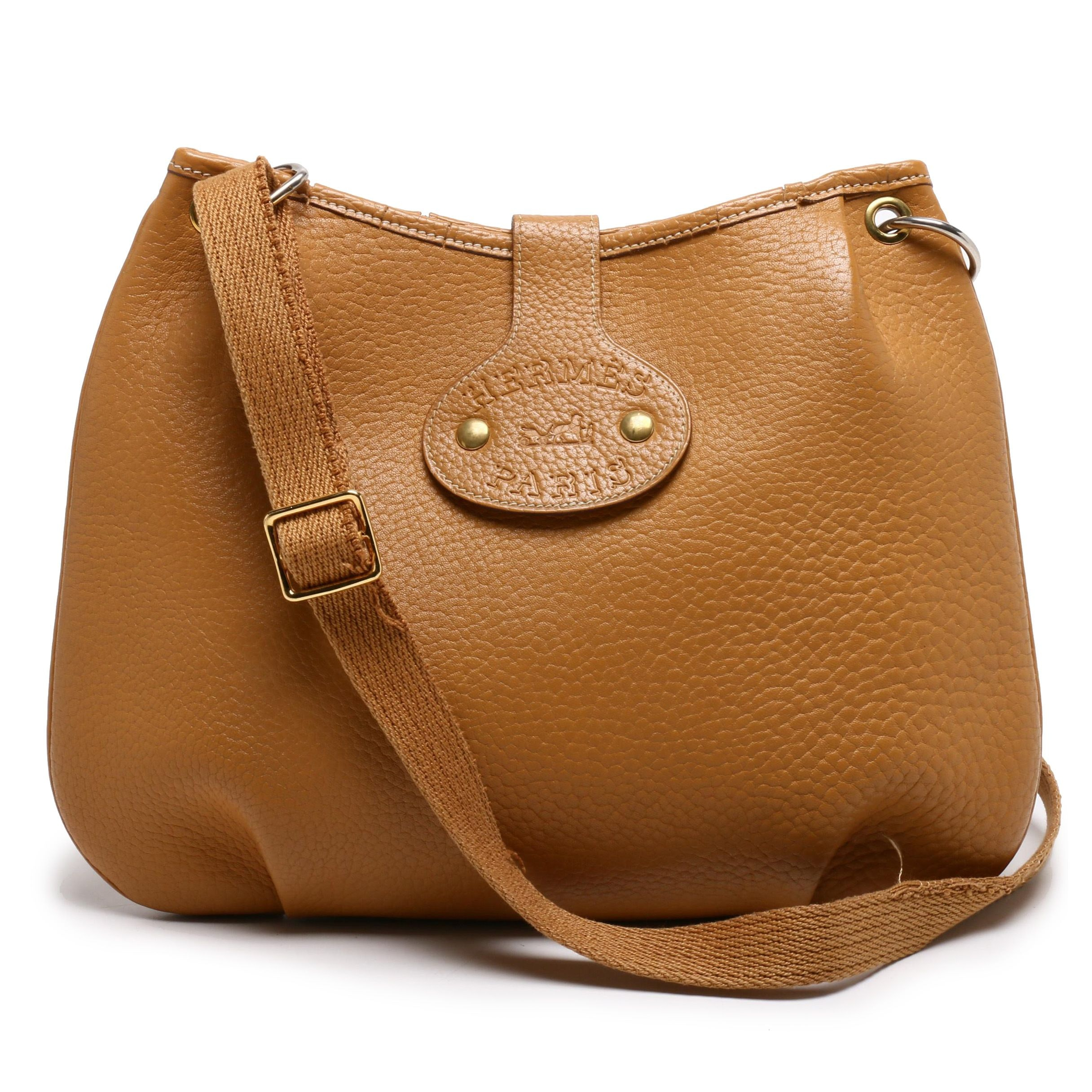 Hermès Paris Tan Clemence Leather Saddle Bag