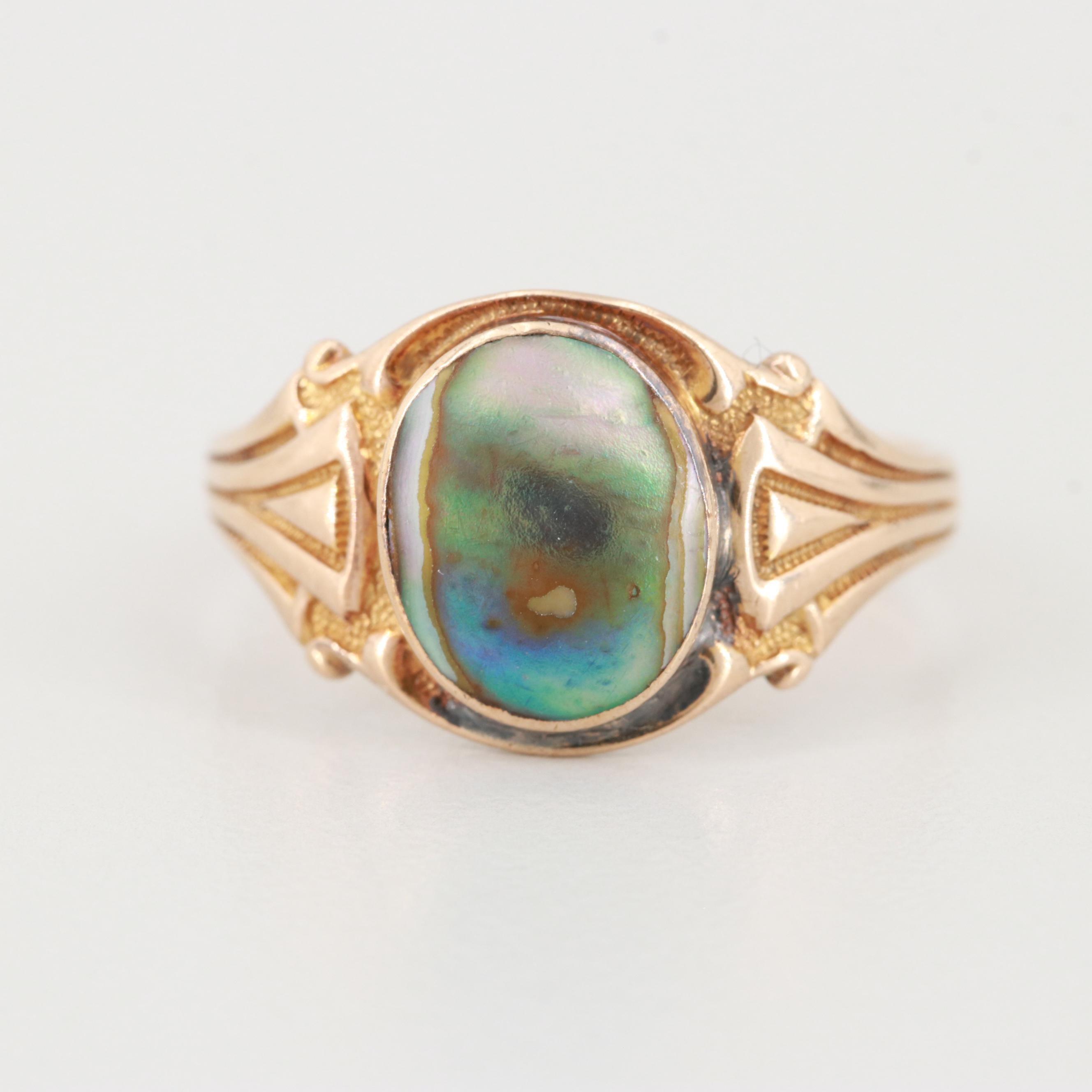 Vintage 10K Yellow Gold Abalone Ring