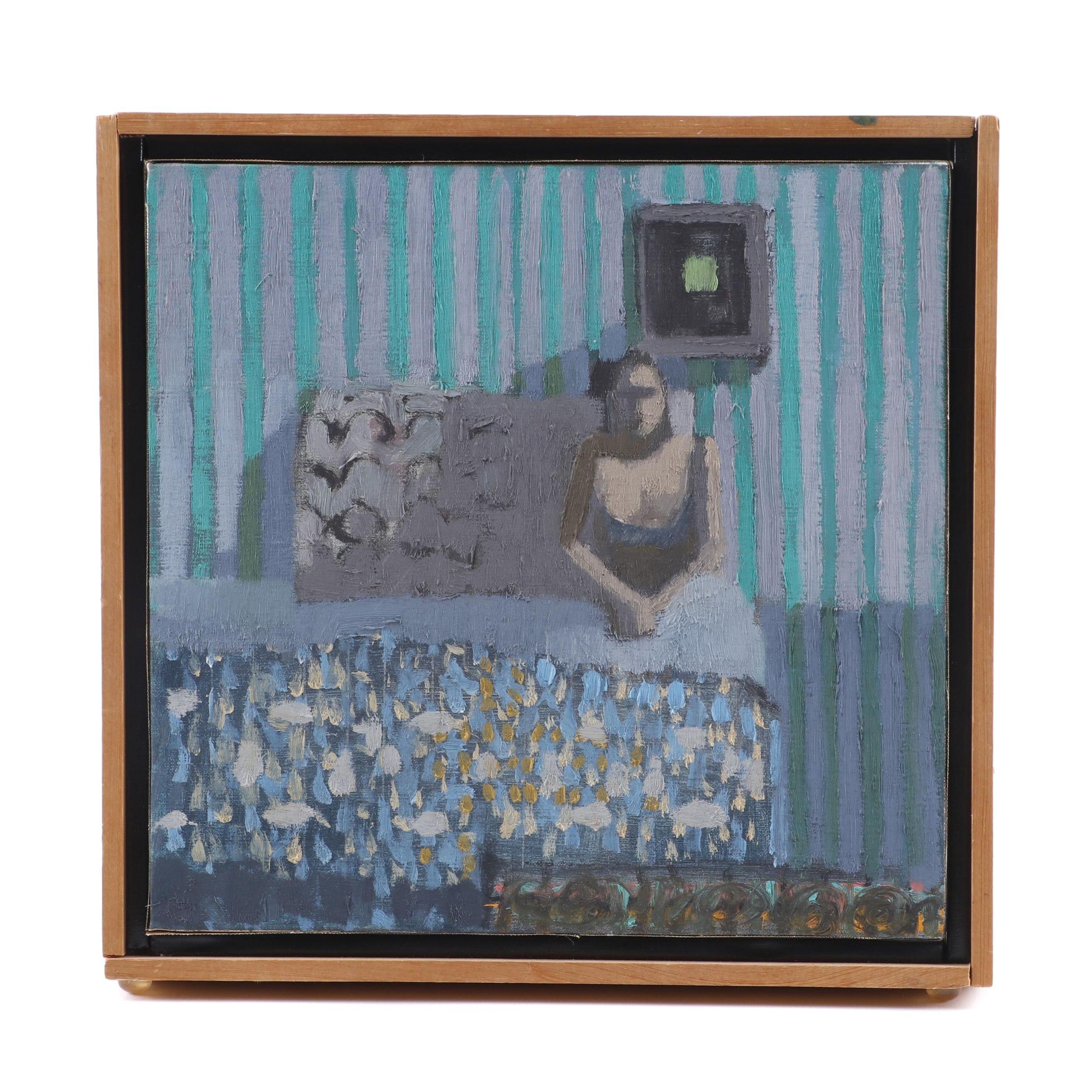 """Jeffrey Schalk 1979 Oil Painting """"Blue Bedroom"""""""