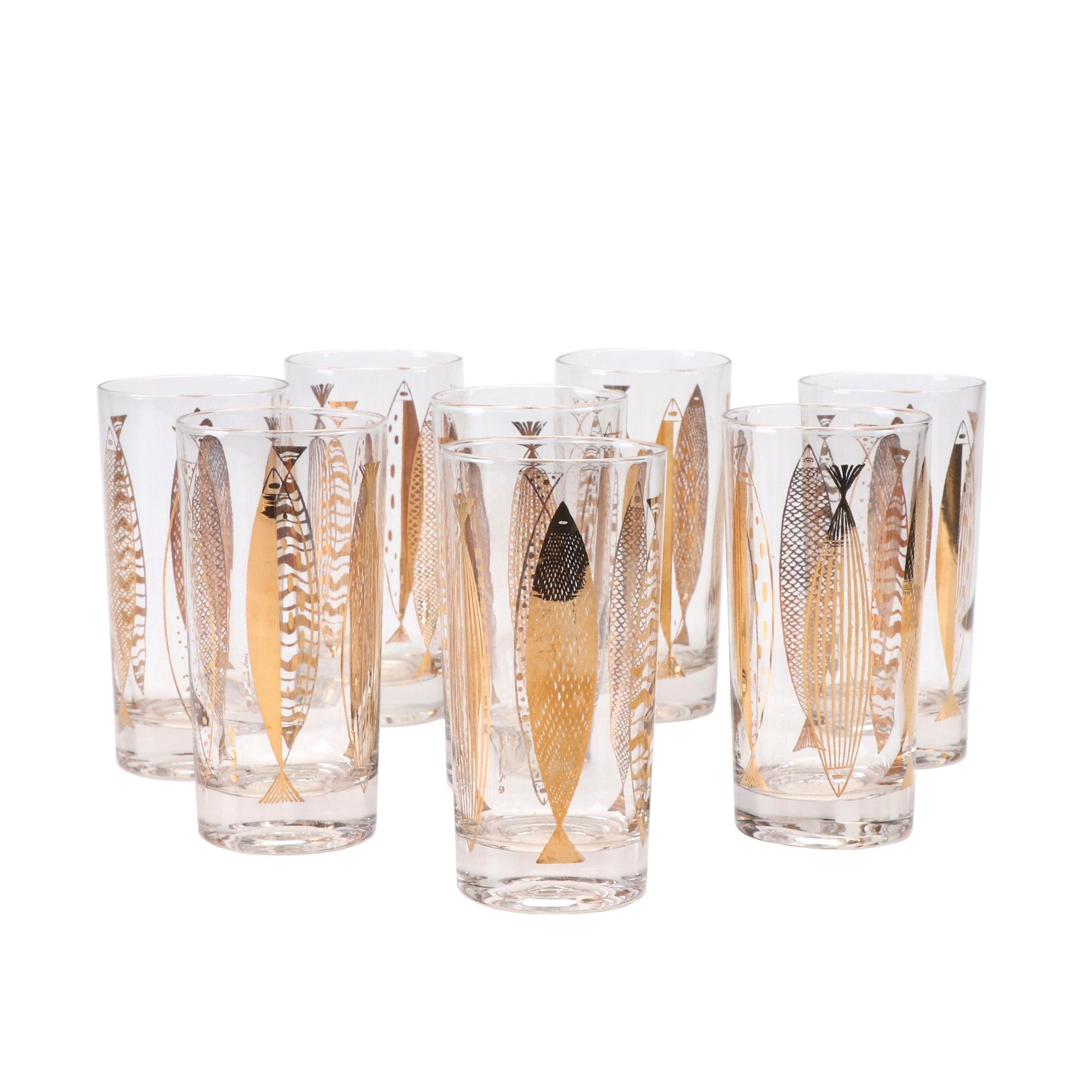 Fred Press Mid Century Modern Highball Glasses, Set of 8