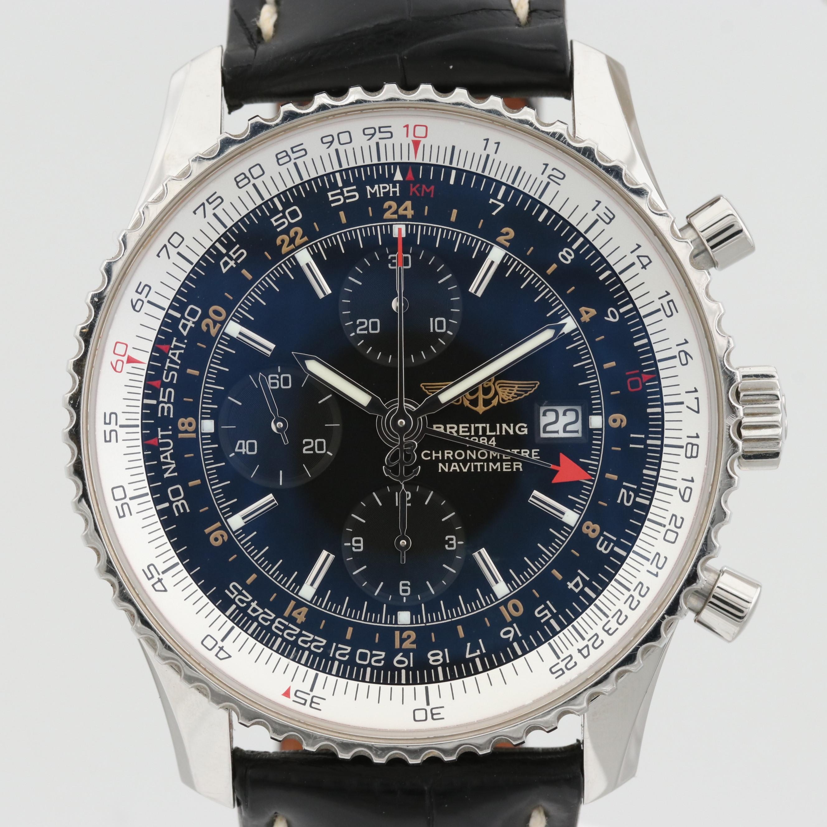 Breitling Navitimer World Stainless Steel Automatic Chronograph Wristwatch