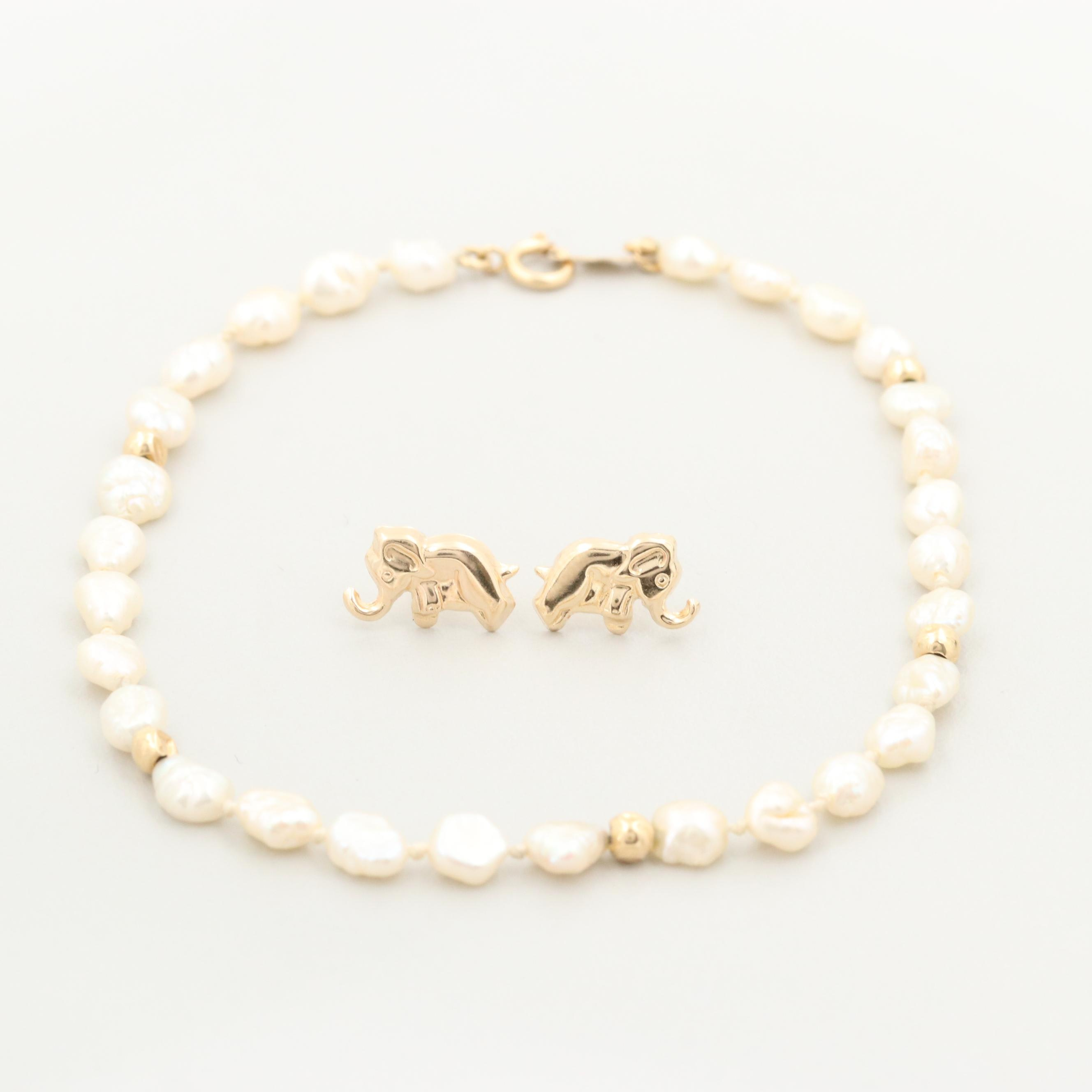 14K Yellow Gold Cultured Pearl Bracelet and Elephant Earrings