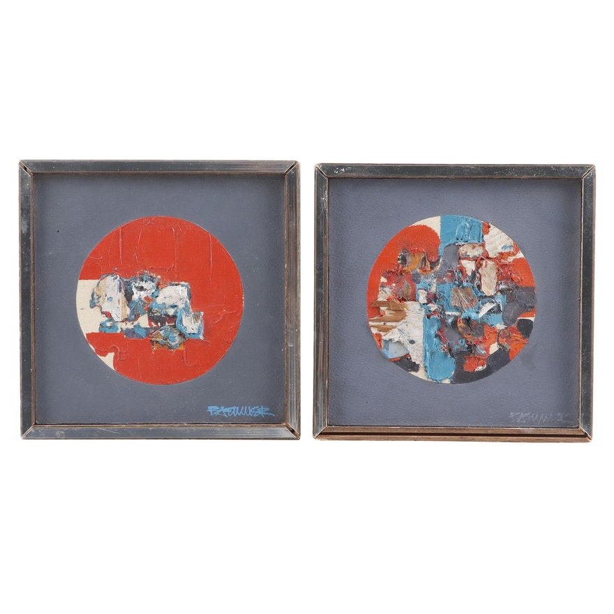 Mid 20th Century Abstract Oil Paintings
