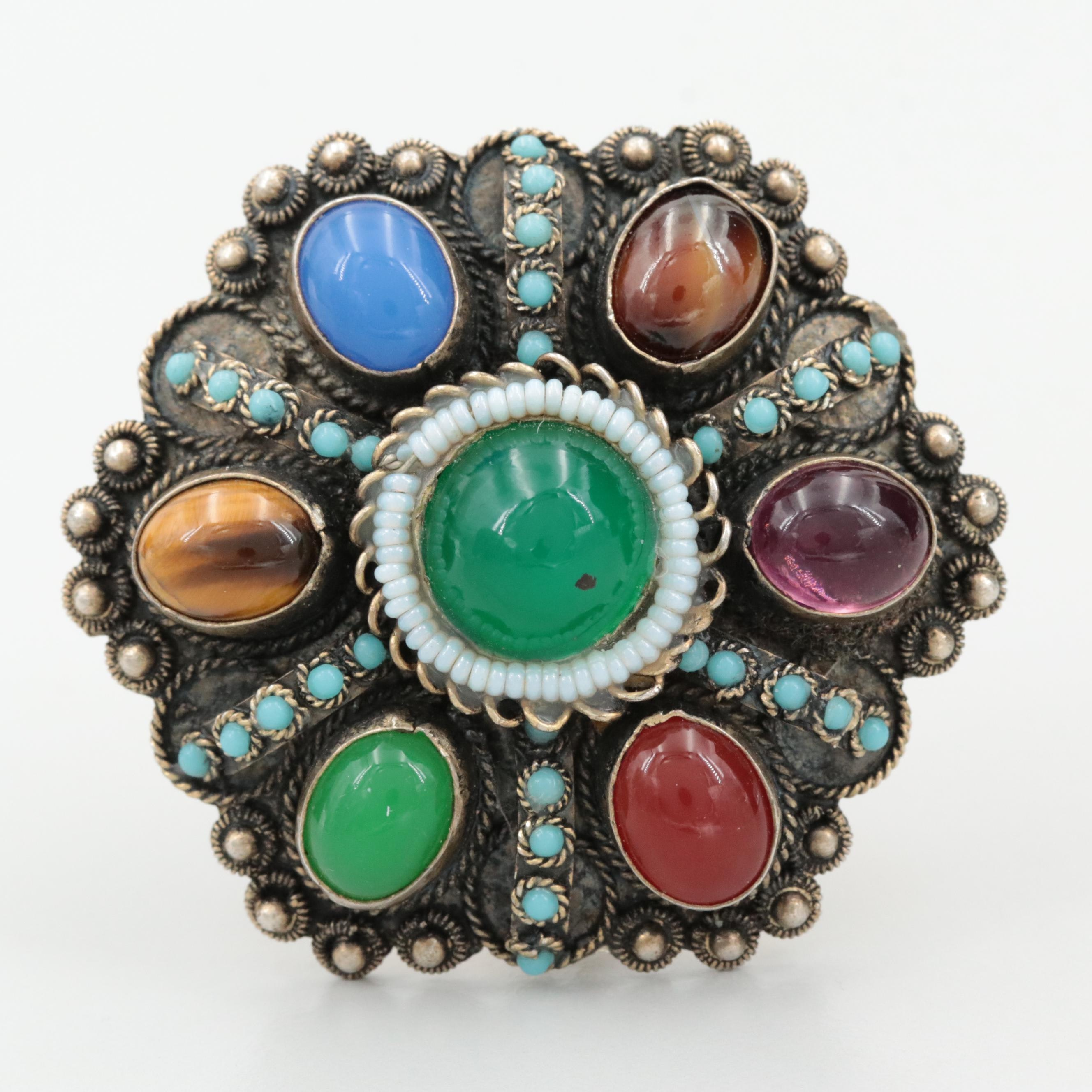 Israelic 935 Silver Tiger's Eye, Glass and Imitation Turquoise Converter Brooch