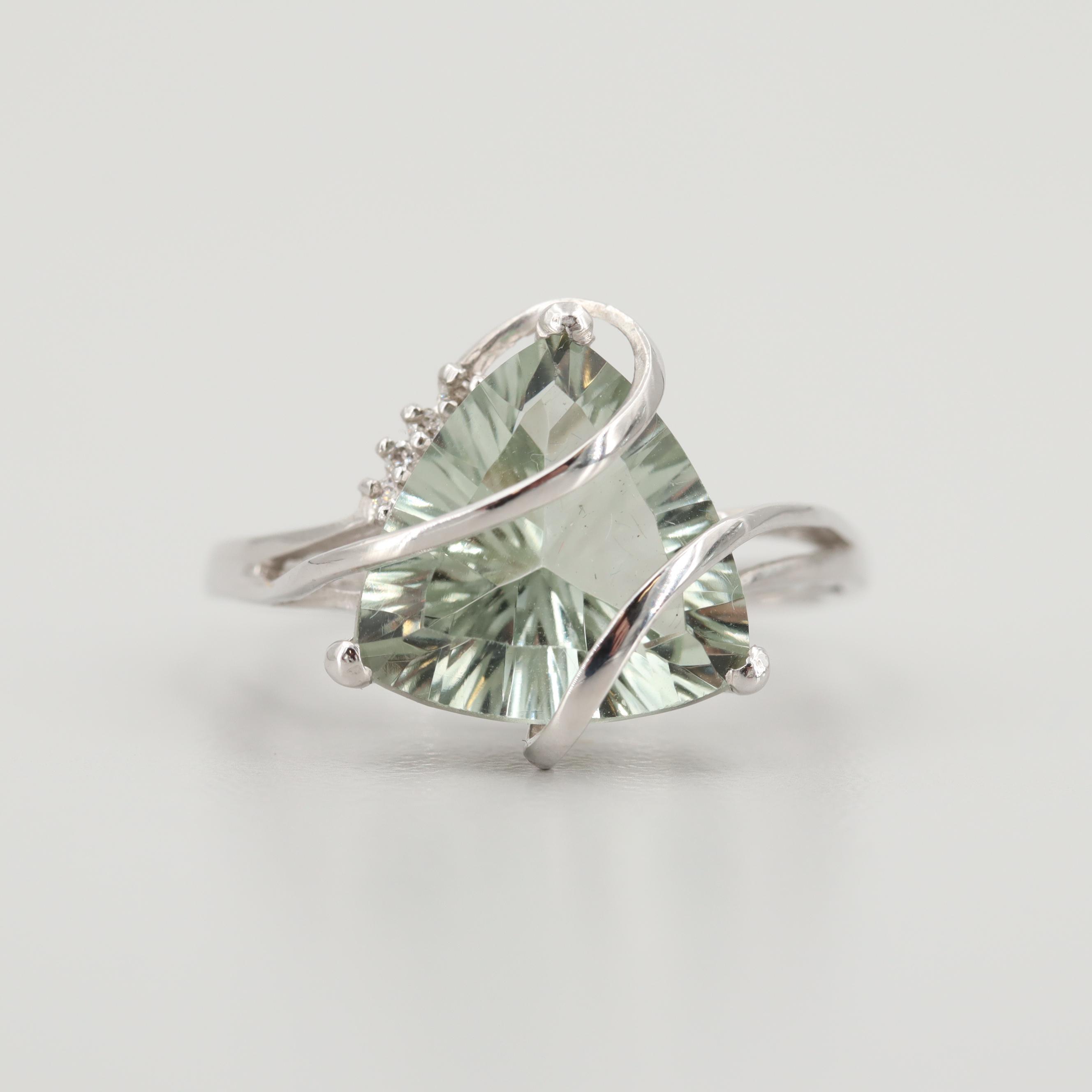 14K White Gold Prasiolite and Diamond Rings