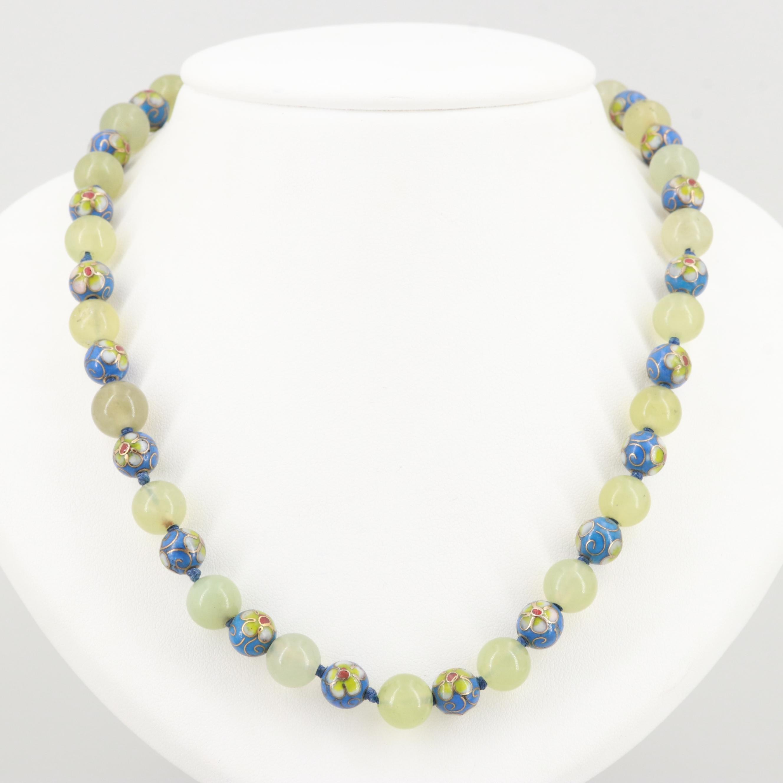 Vintage Bowenite and Cloisonne Glass Beaded Necklace