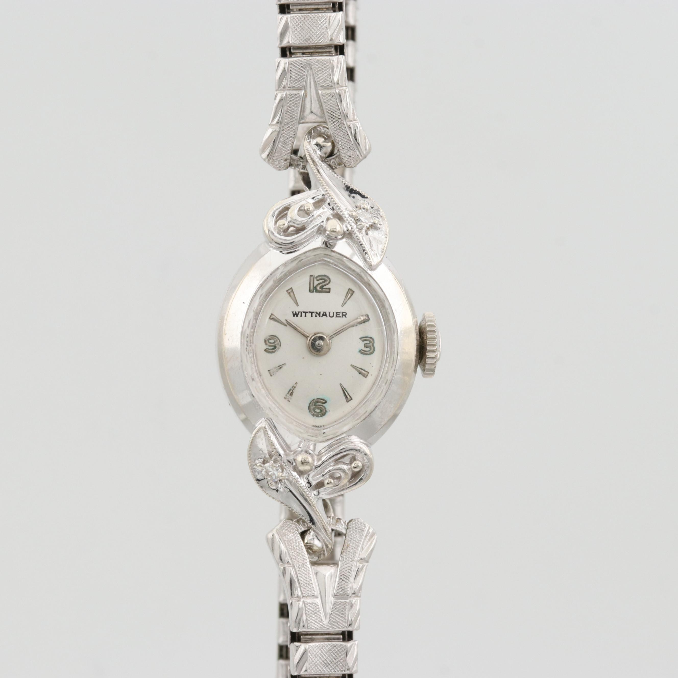 Wittnauer 14K White Gold and Diamond Lug Wristwatch