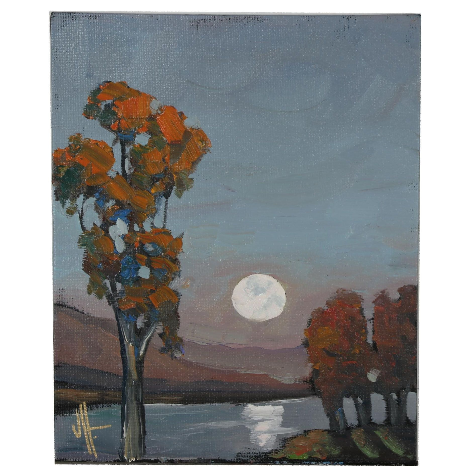 William Hawkins Moonlit Landscape Oil Painting