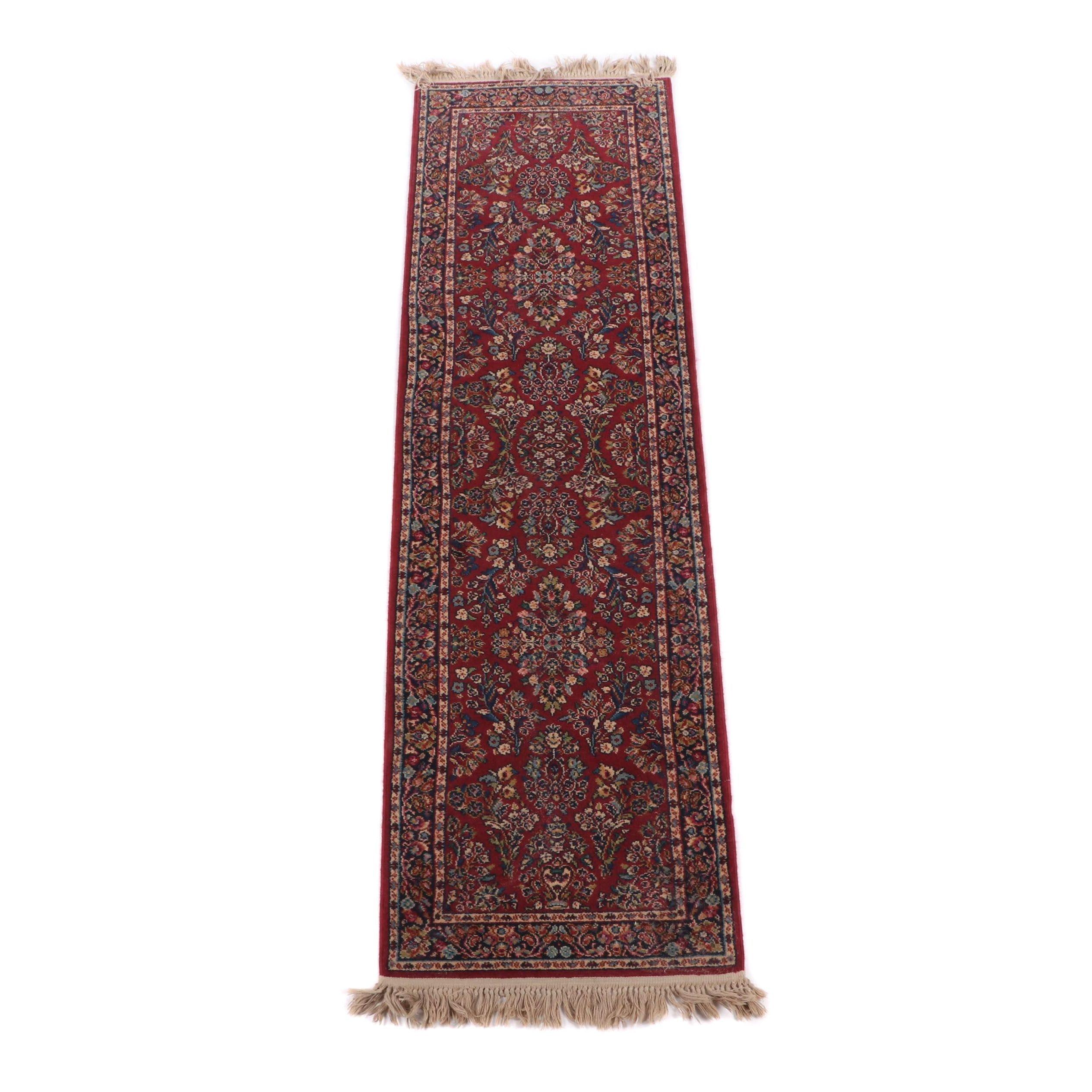 """Machine Made Karastan """"Red Sarouk"""" Wool Pile Carpet Runner"""