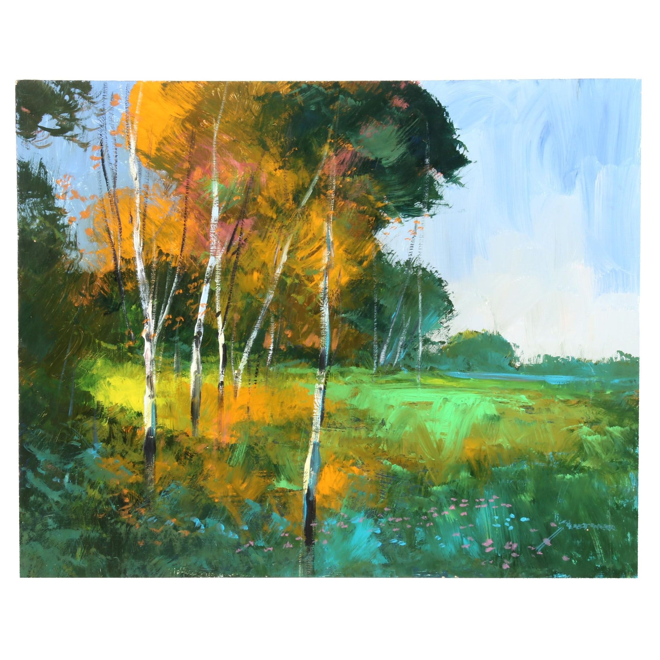Michael Schofield Oil Painting of Landscape with Birch Trees