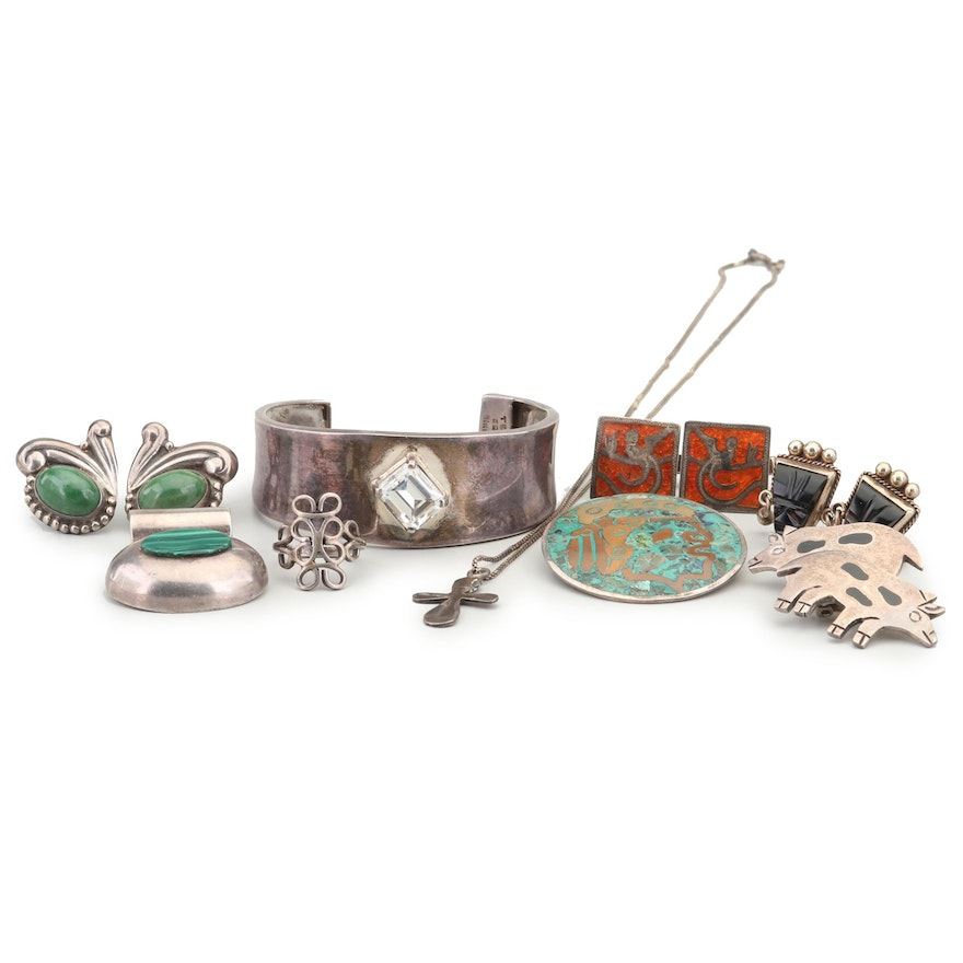 Vintage Taxco Sterling Jewelry with Gemstone Accents and Alpaca Silver Cufflinks