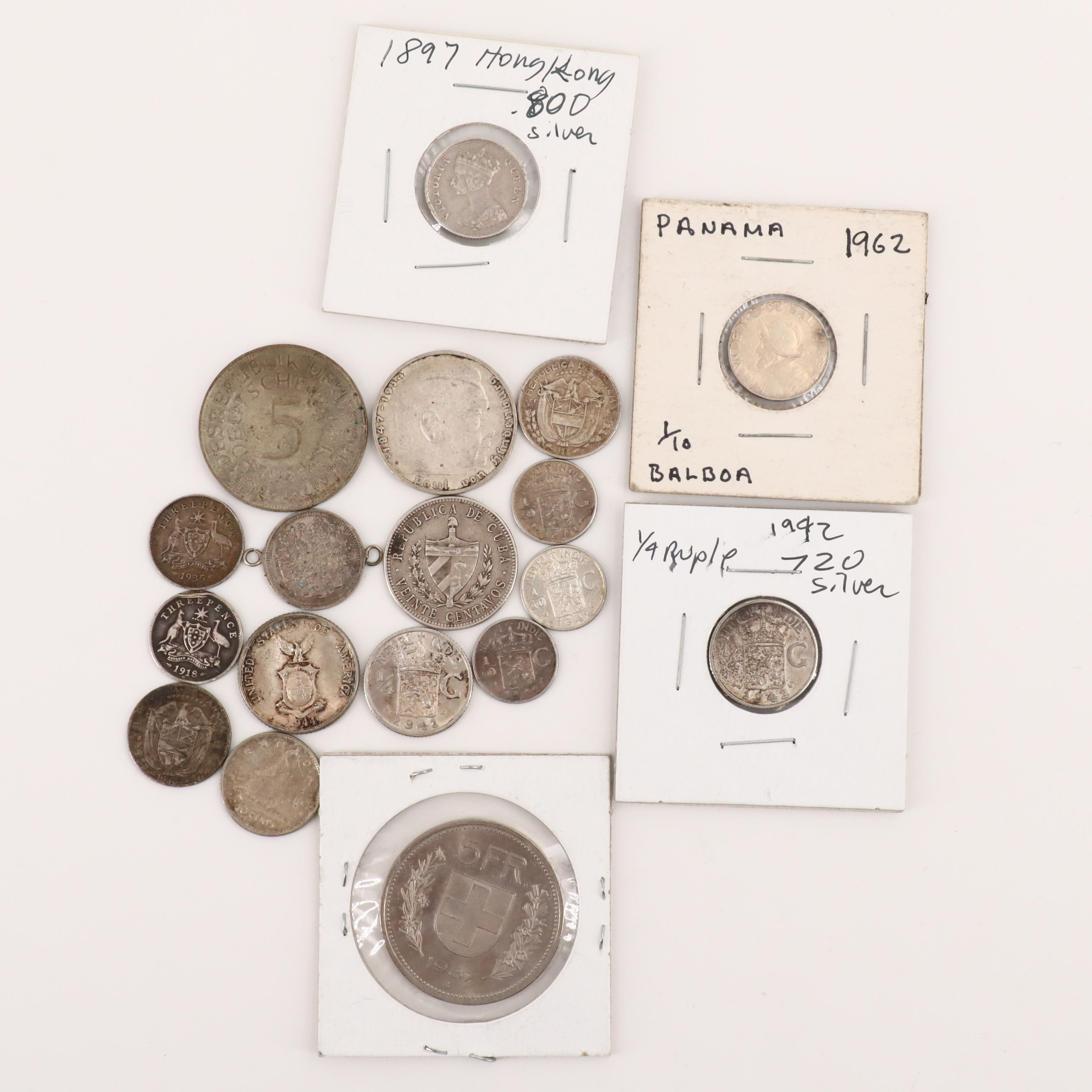 Foreign Silver Coins Featuring a 1918 British Three Pence
