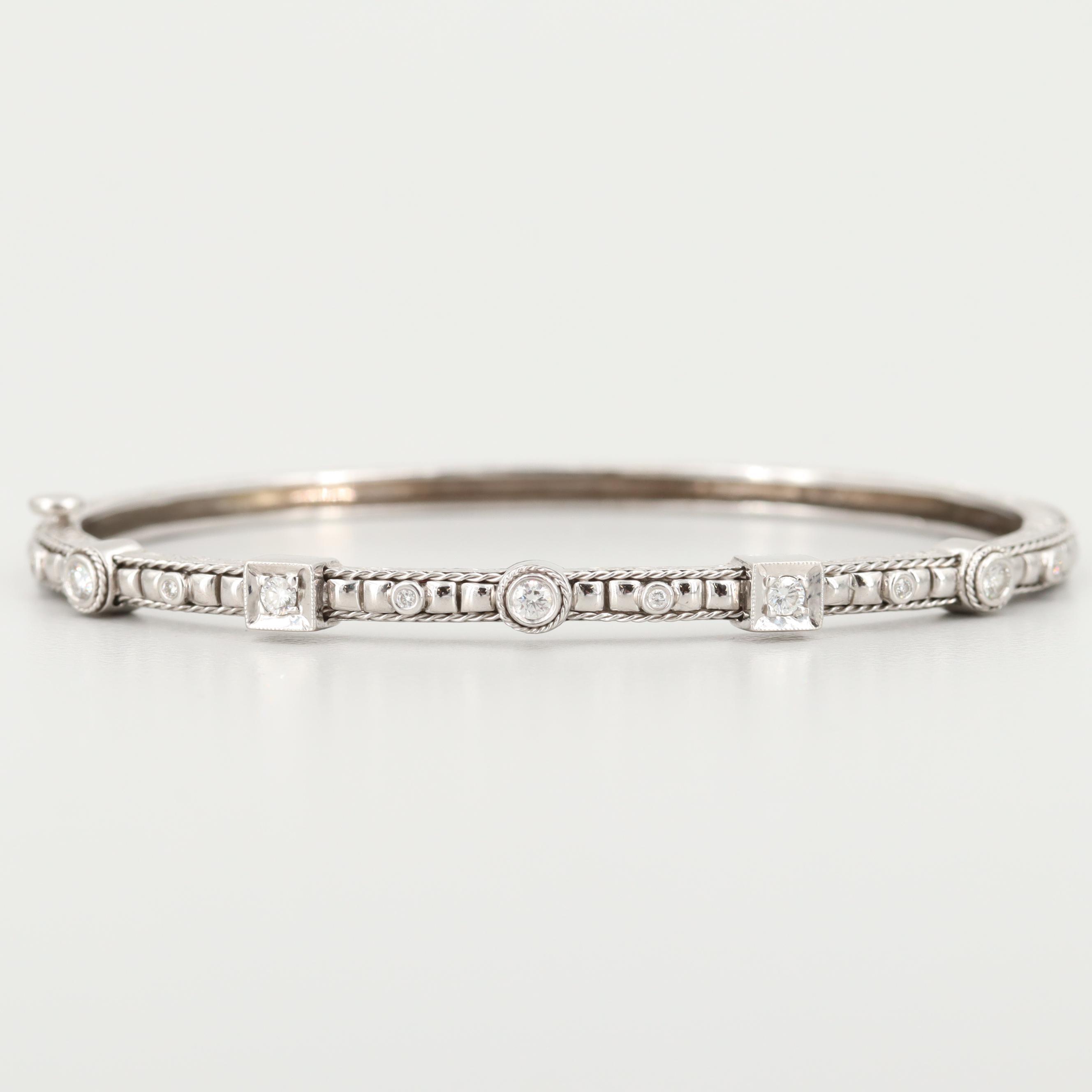 Penny Preville 18K White Gold Diamond Hinged Bangle Bracelet