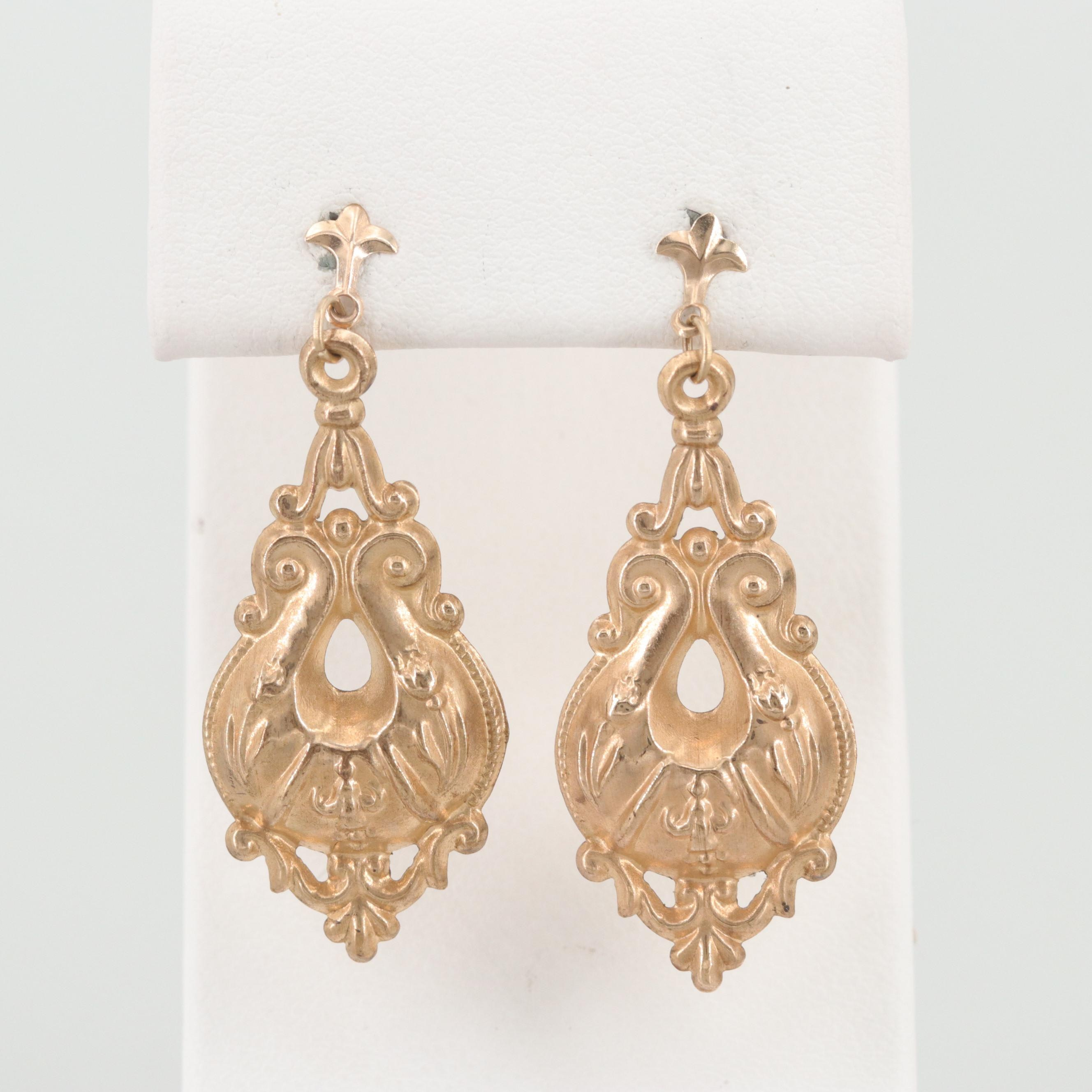 Vintage Gold Tone Dangle Earrings with 14K Gold Findings