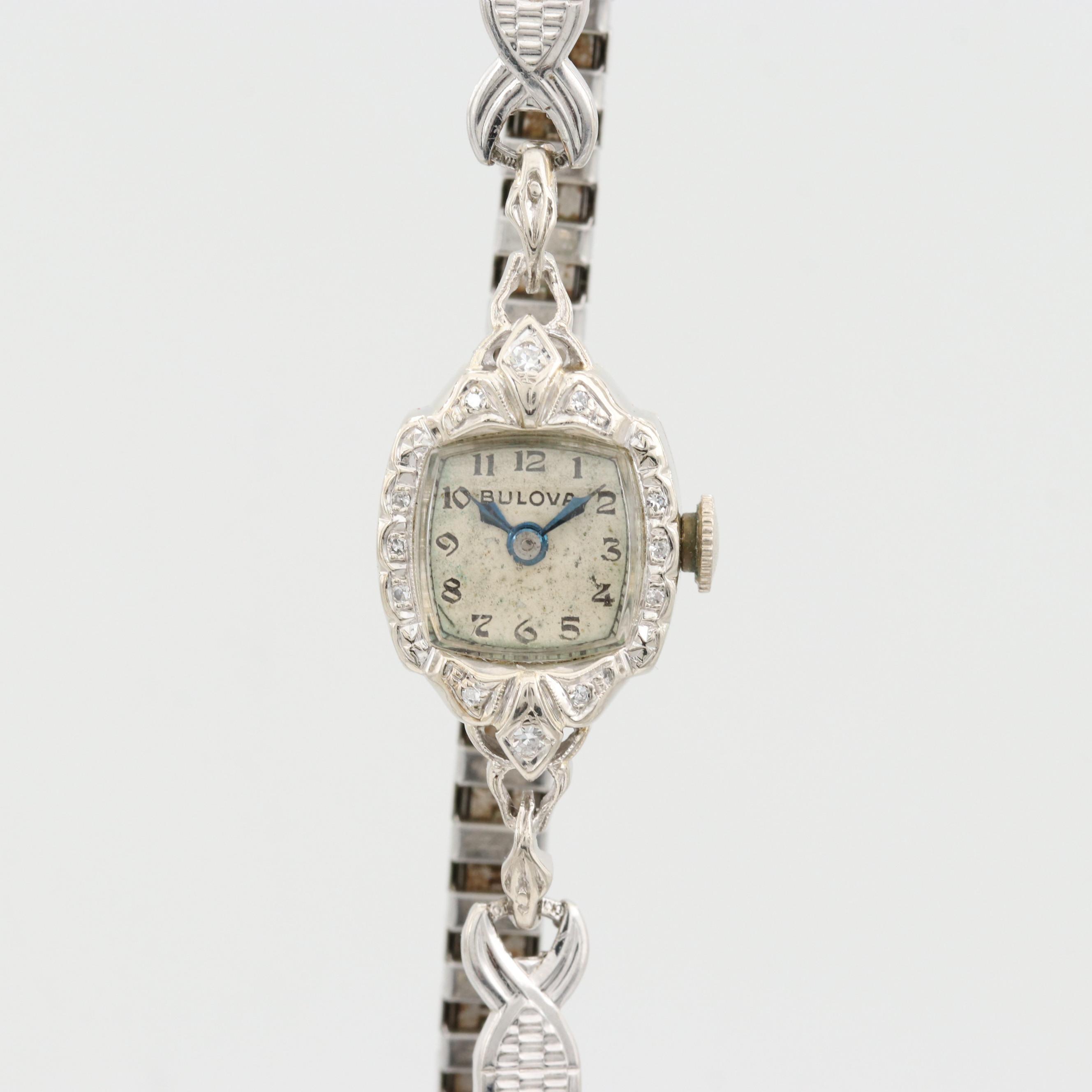 Bulova 14K White Gold and Diamond Bezel Wristwatch
