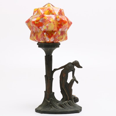 """Art Deco Czech Table Lamp with """"End of Day"""" Starburst Glass Shade, 1920s"""
