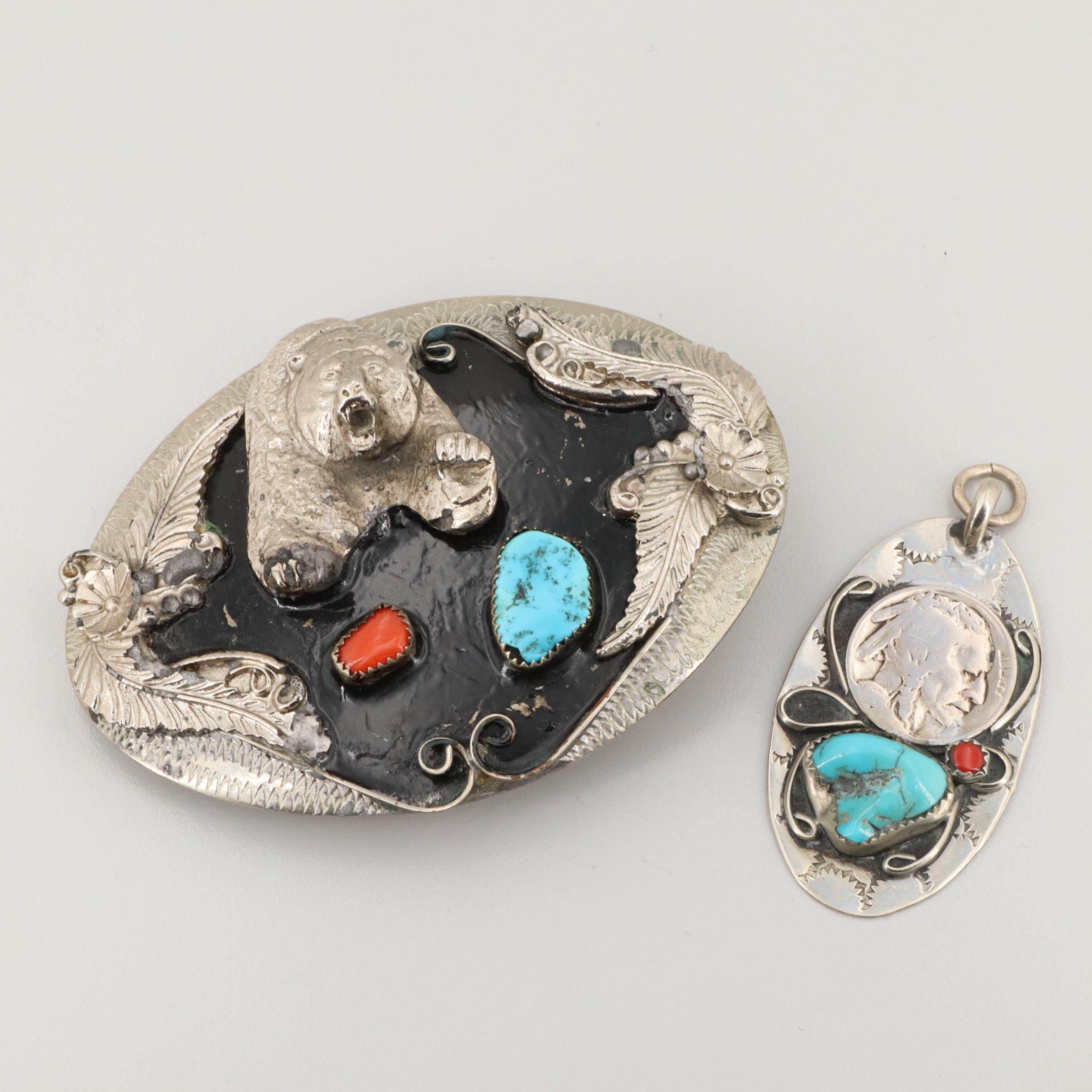 Southwestern Turquoise and Coral Belt Buckle and Pendant with Buffalo Nickel