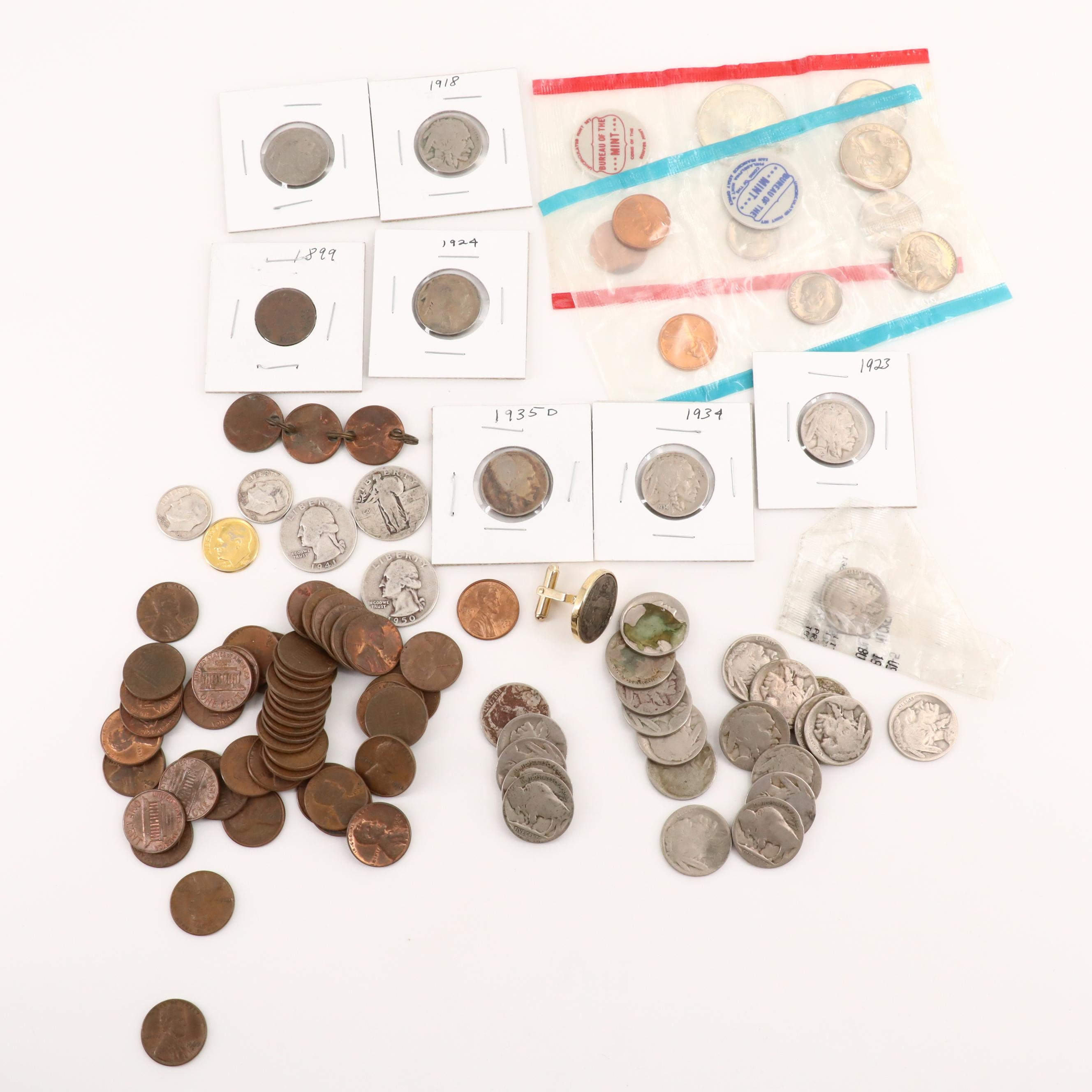 Various American Coins Featuring a 1970 Uncirculated Mint Sets
