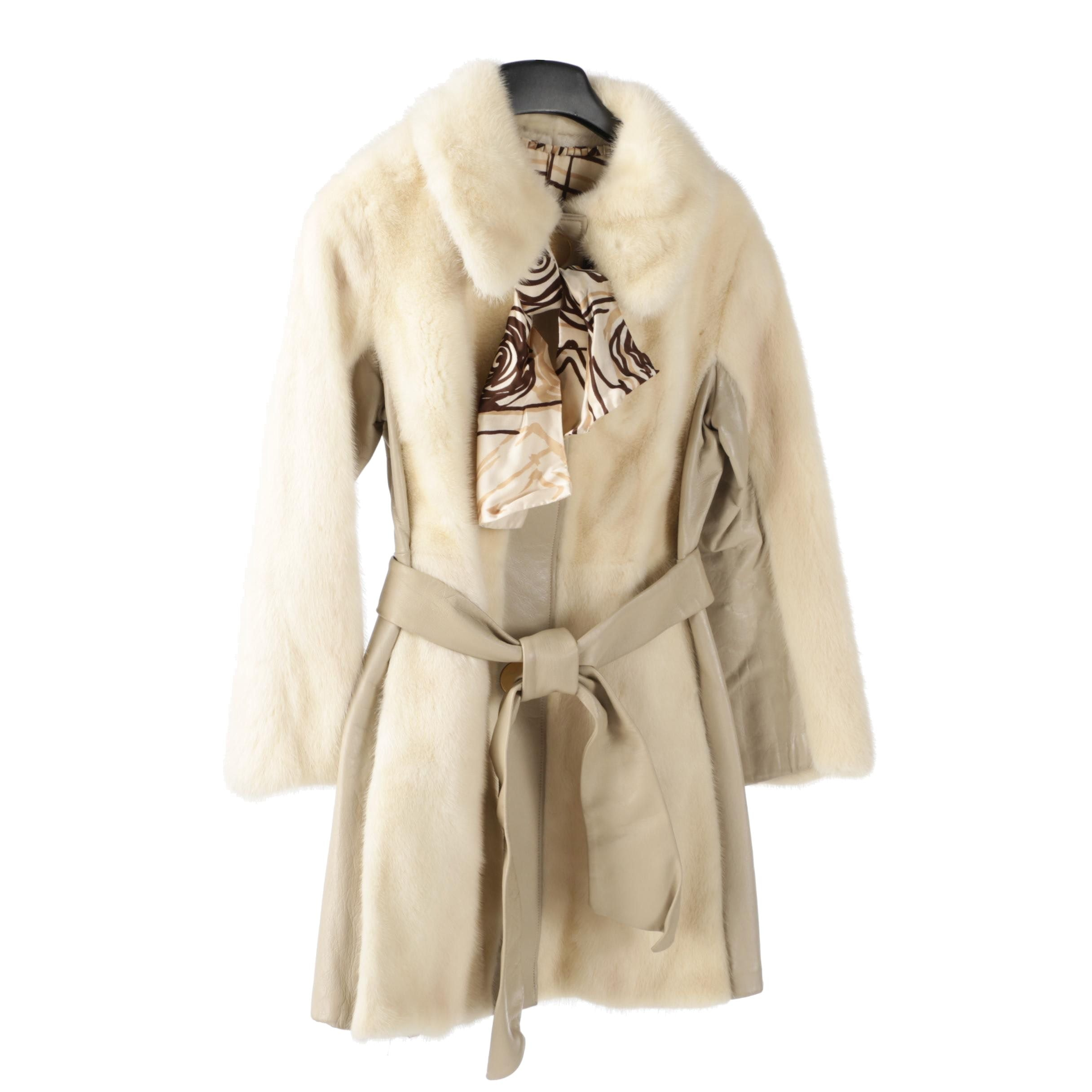 André Furs Dyed Mink Fur and Beige Leather Fitted Coat with Scarf, Vintage
