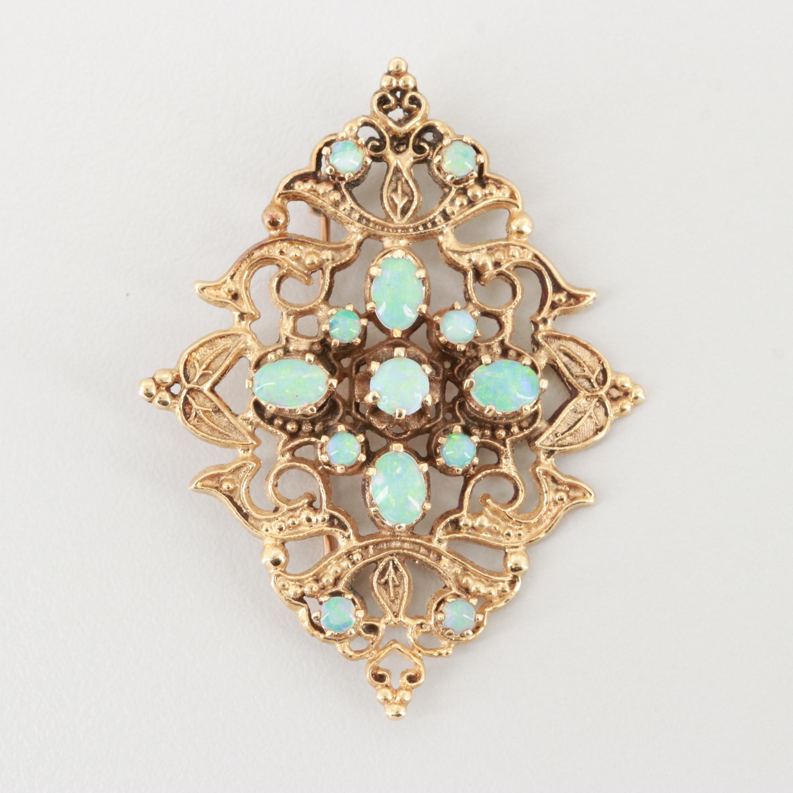 Vintage 14K Yellow Gold Opal Converter Brooch