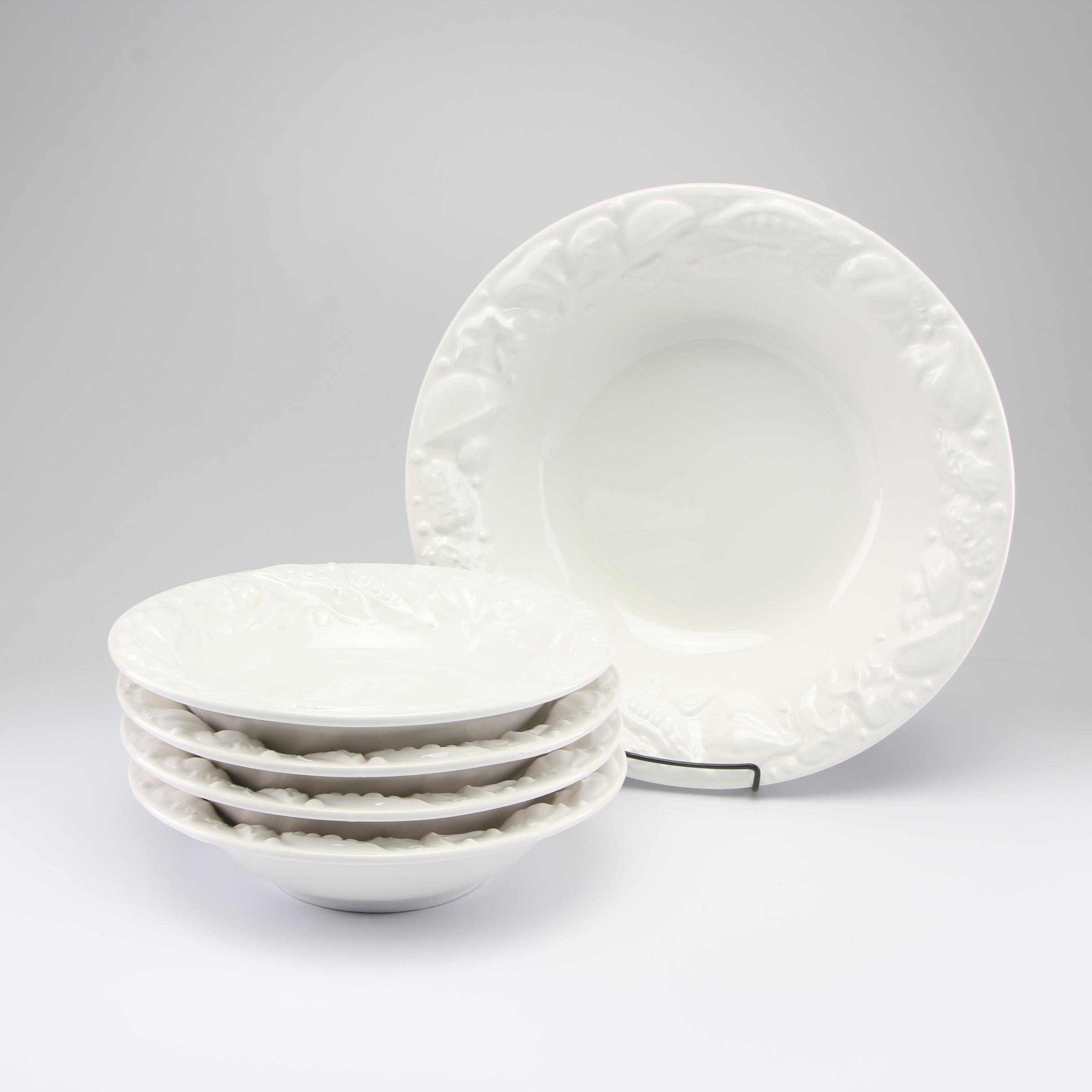 Pottery Barn Pasta Bowls with Garlic Embossed Rim
