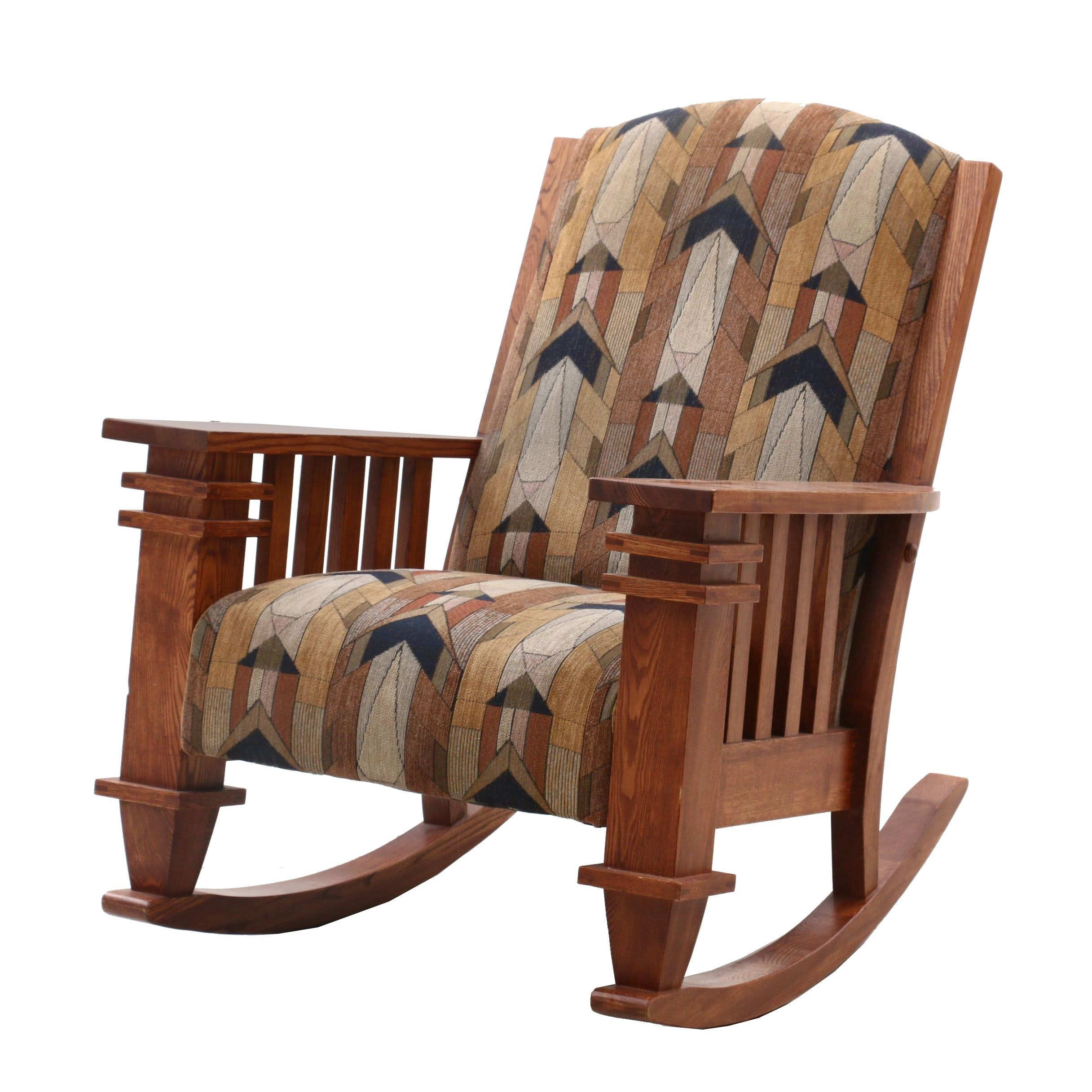 Mission Style Oak Upholstered Rocking Chair