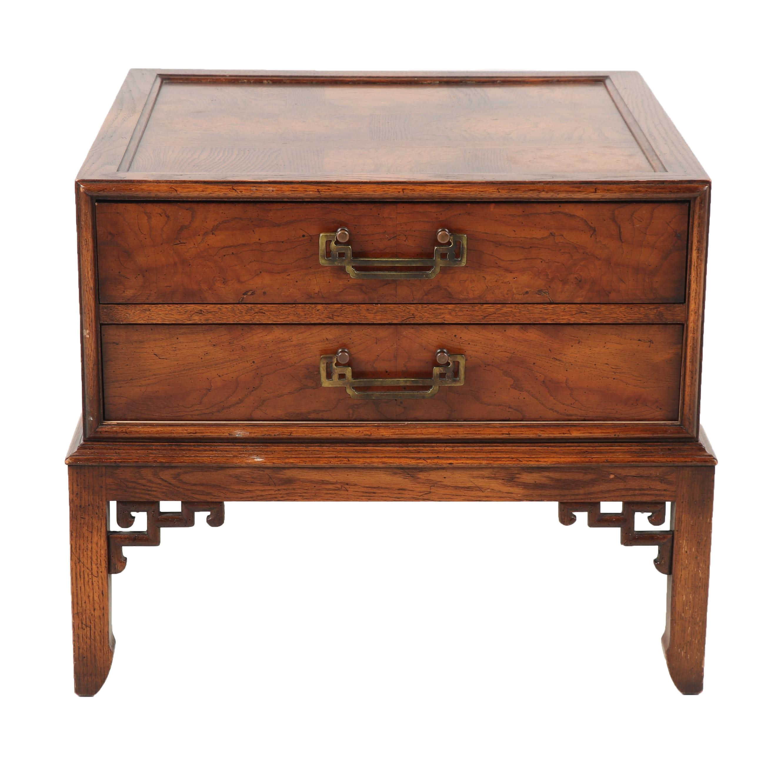 Hekman Chinese Style Fruitwood and Oak Bedside Table, Mid to Late 20th Century