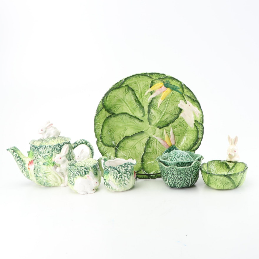 """Shafford """"Rabbit Patch"""" Tea Service with Other Cabbage Majolica"""