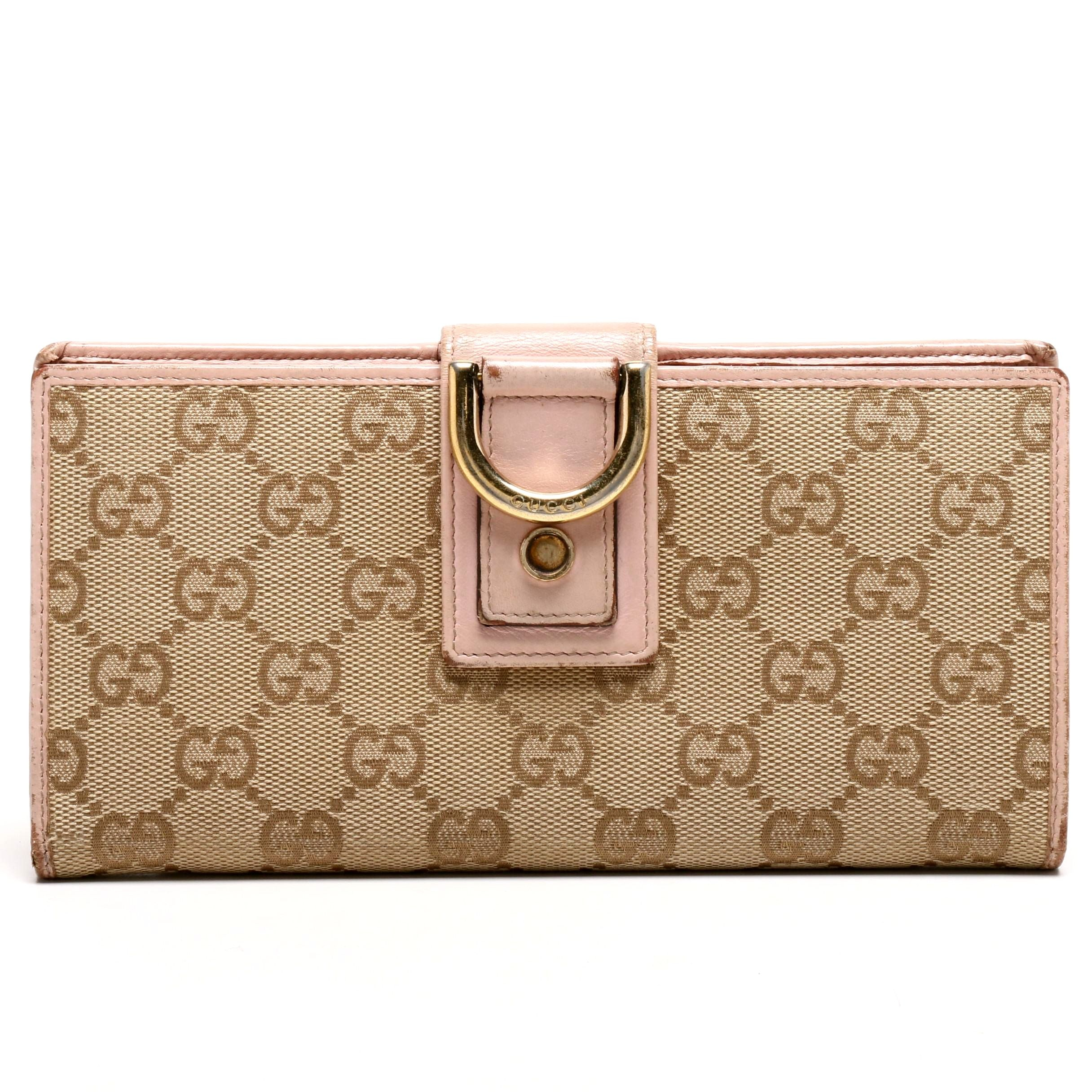Gucci GG Canvas and Pink Leather Bifold Wallet