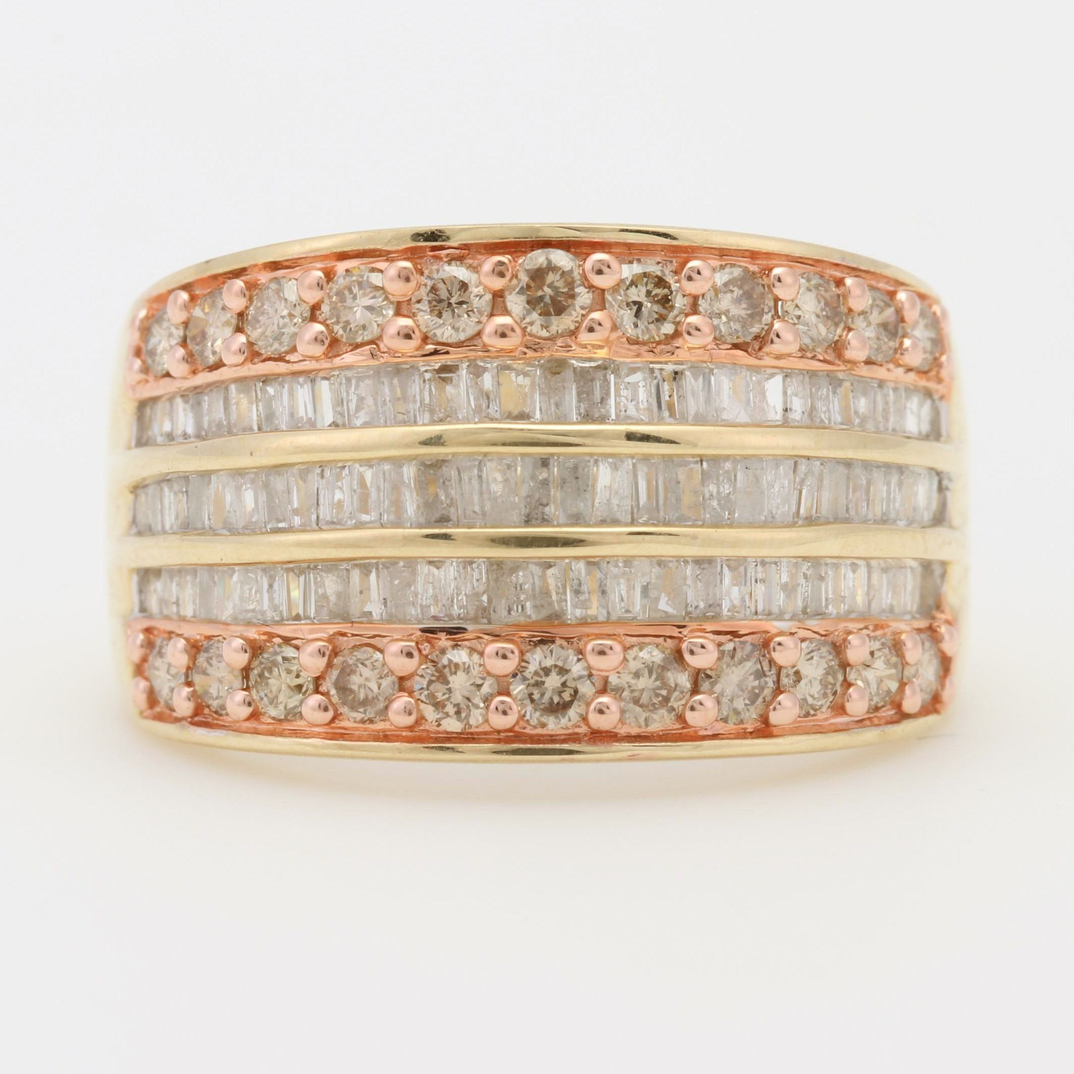 14K Yellow and Rose Gold Diamond Ring