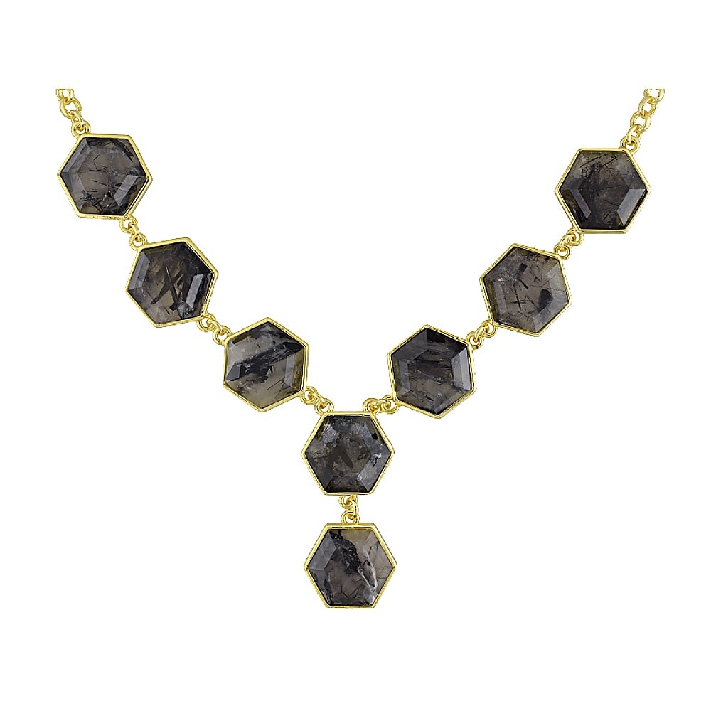 Gold Tone Rutilated Quartz Necklace