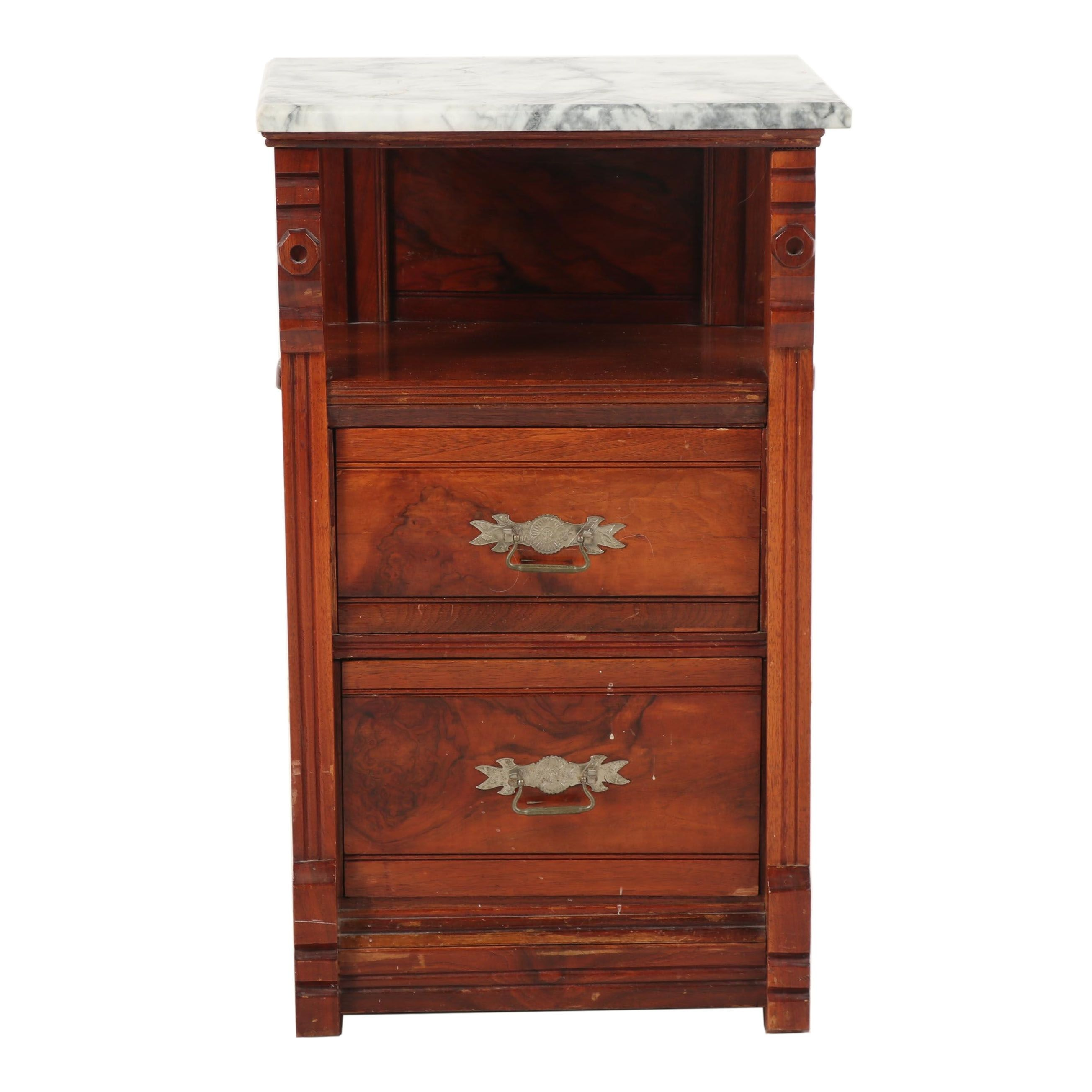 Small Wooden Cabinet with Marble Top