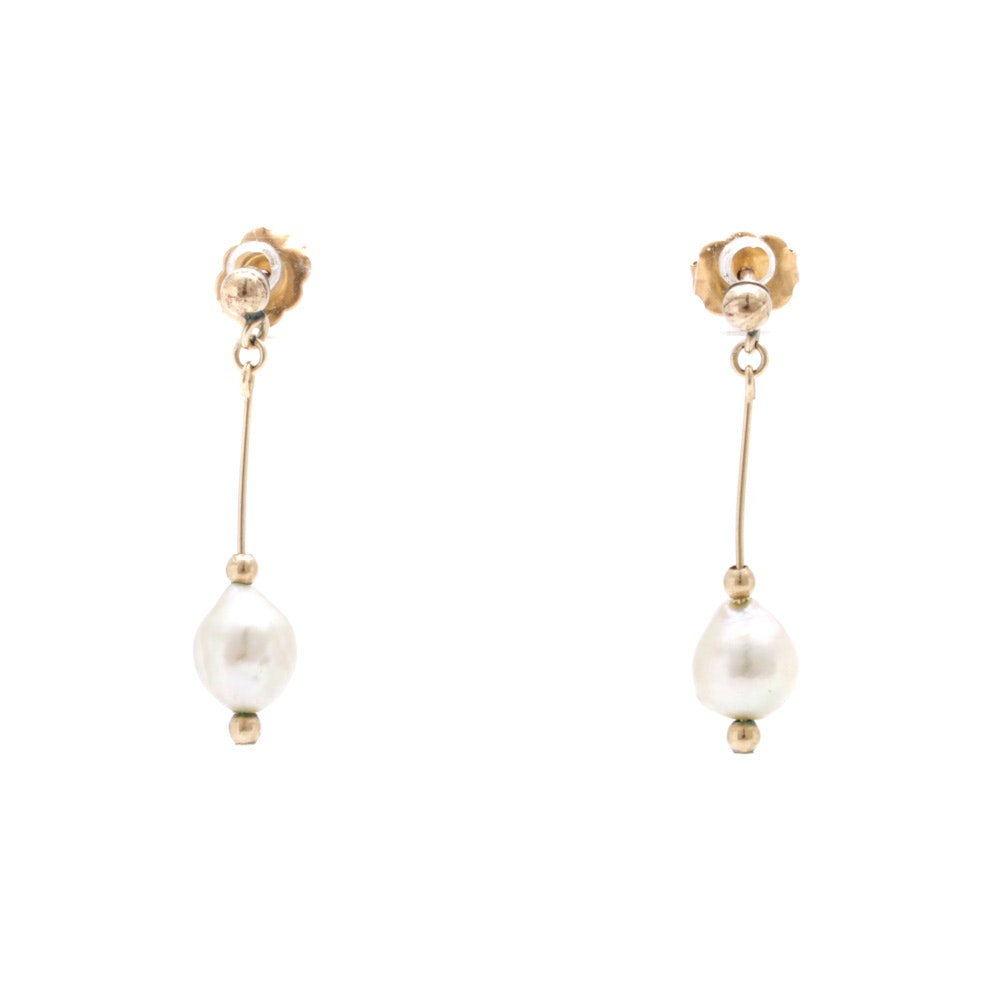 14K Yellow Gold Cultured Baroque Pearl Drop Earrings
