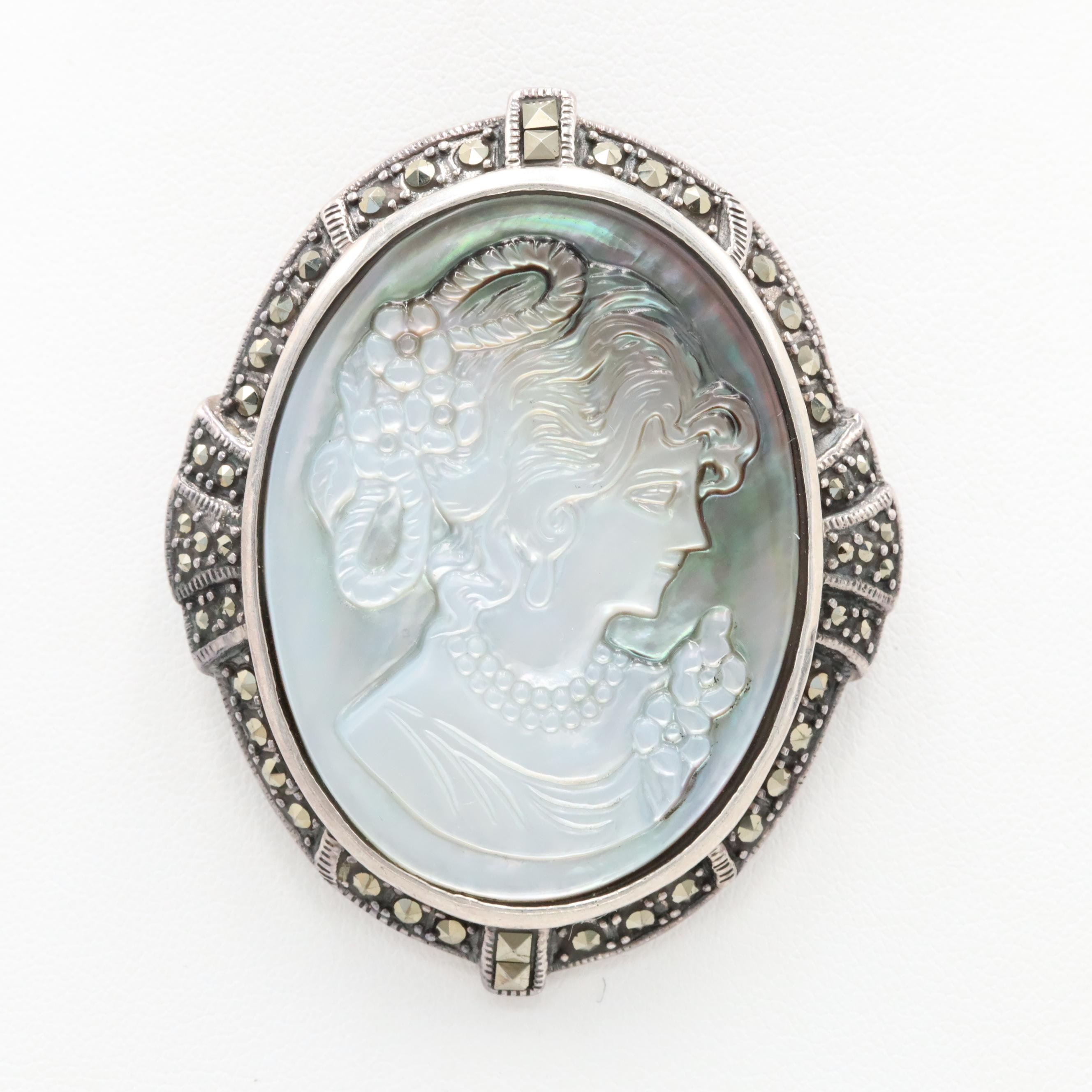 Sterling Silver Mother of Pearl Carved Cameo and Marcasite Brooch