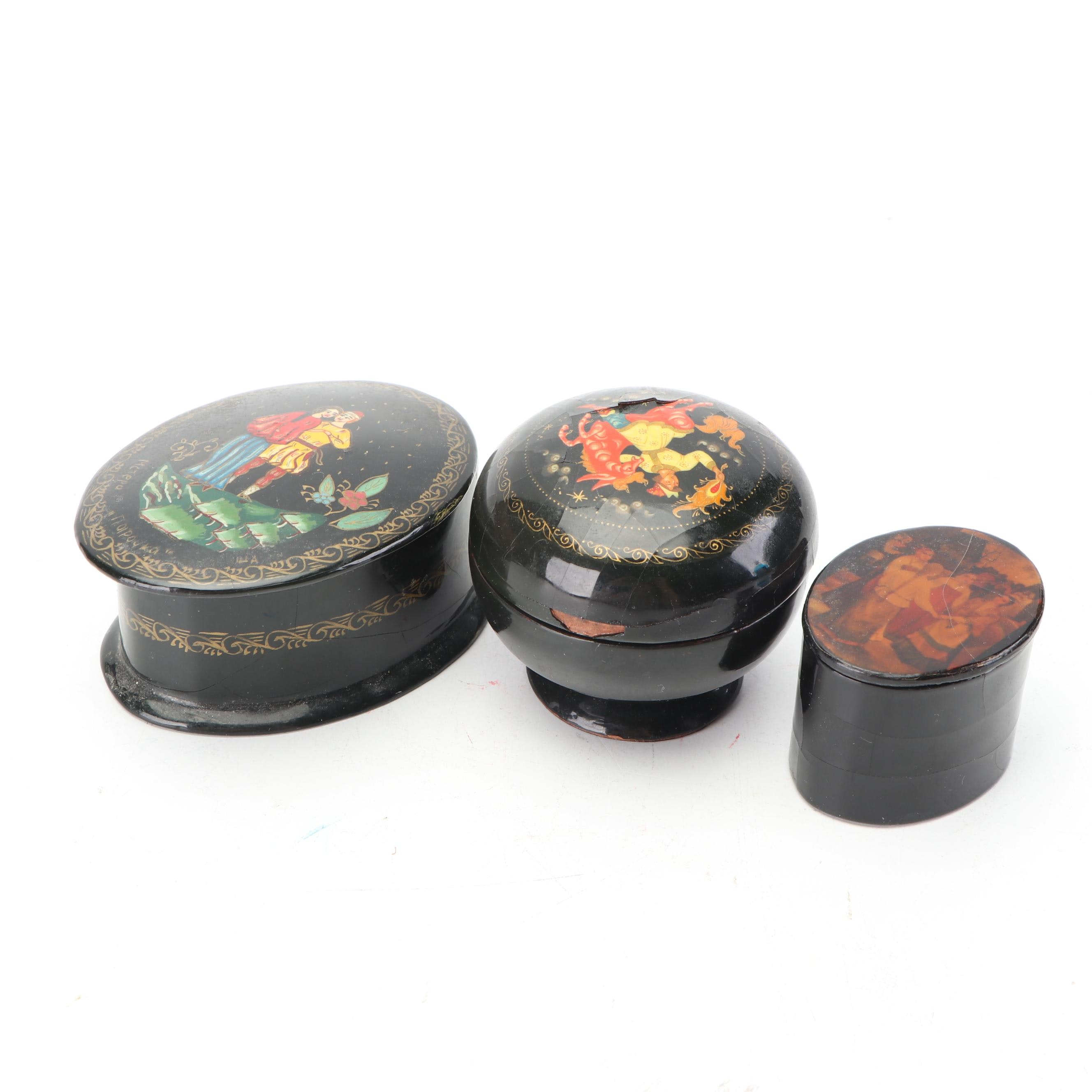 Russian Hand-Painted Lacquered Trinket Boxes