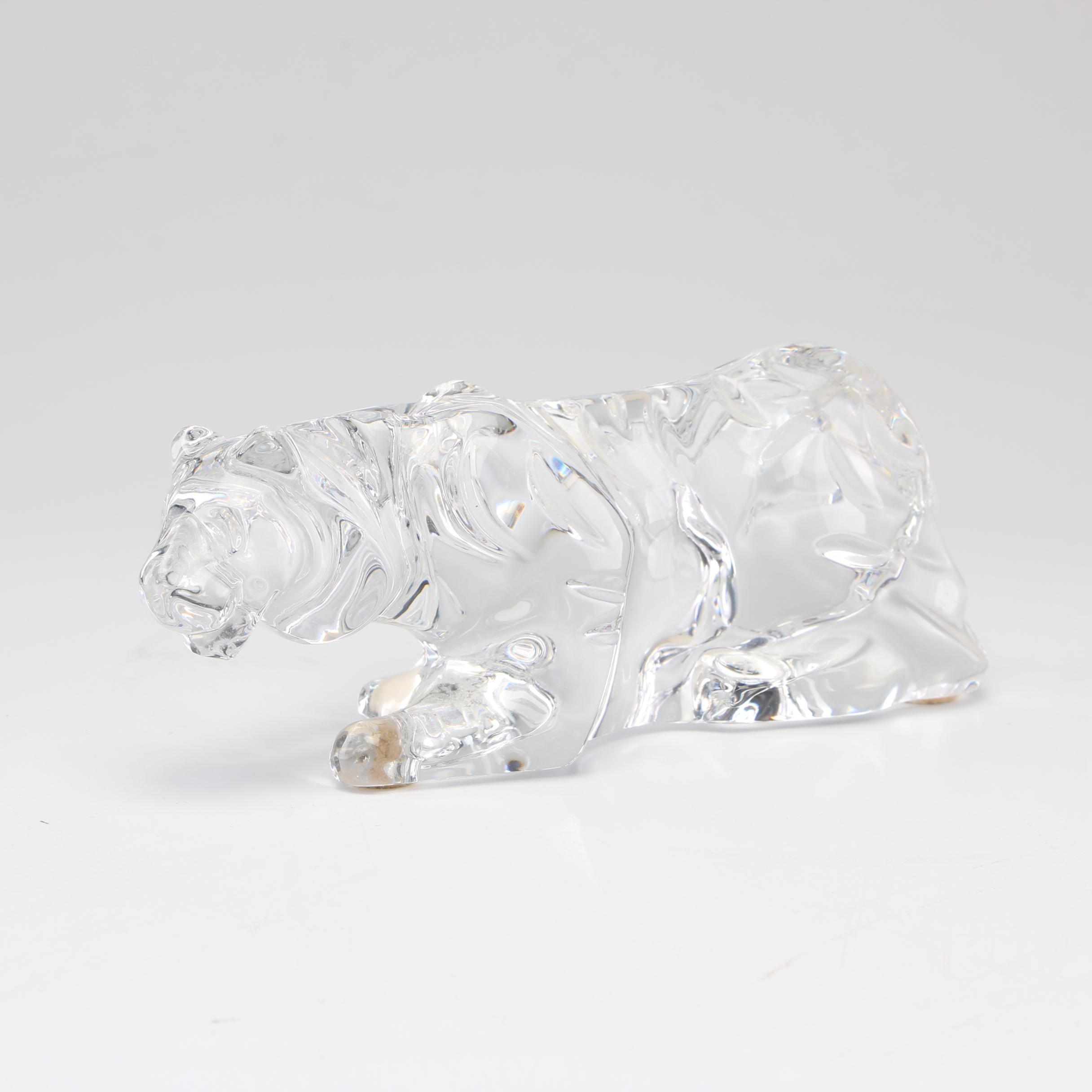 Baccarat Crystal Tiger Figurine