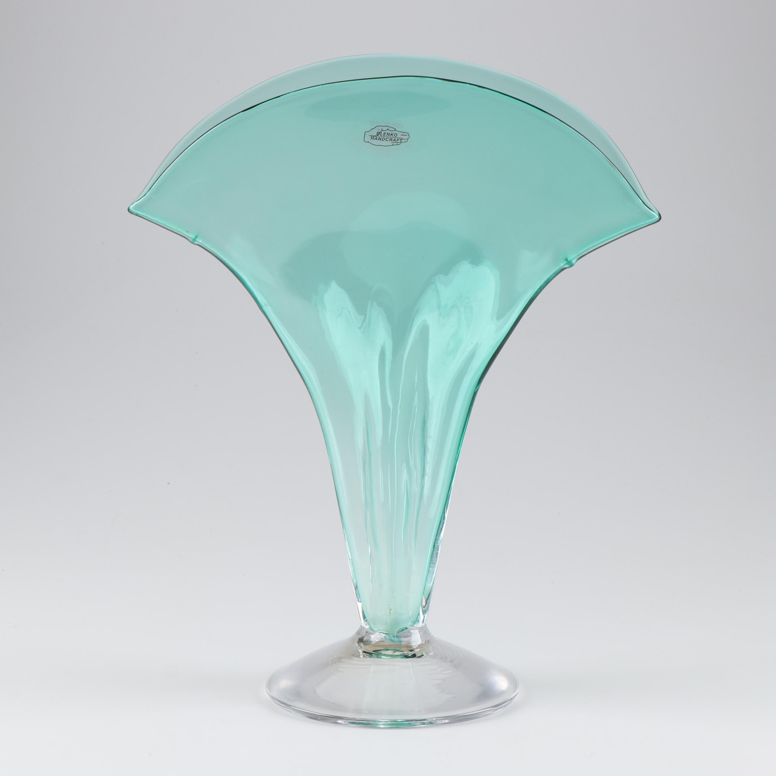 Blenko Handcraft Art Glass Fan Vase, Mid-Century
